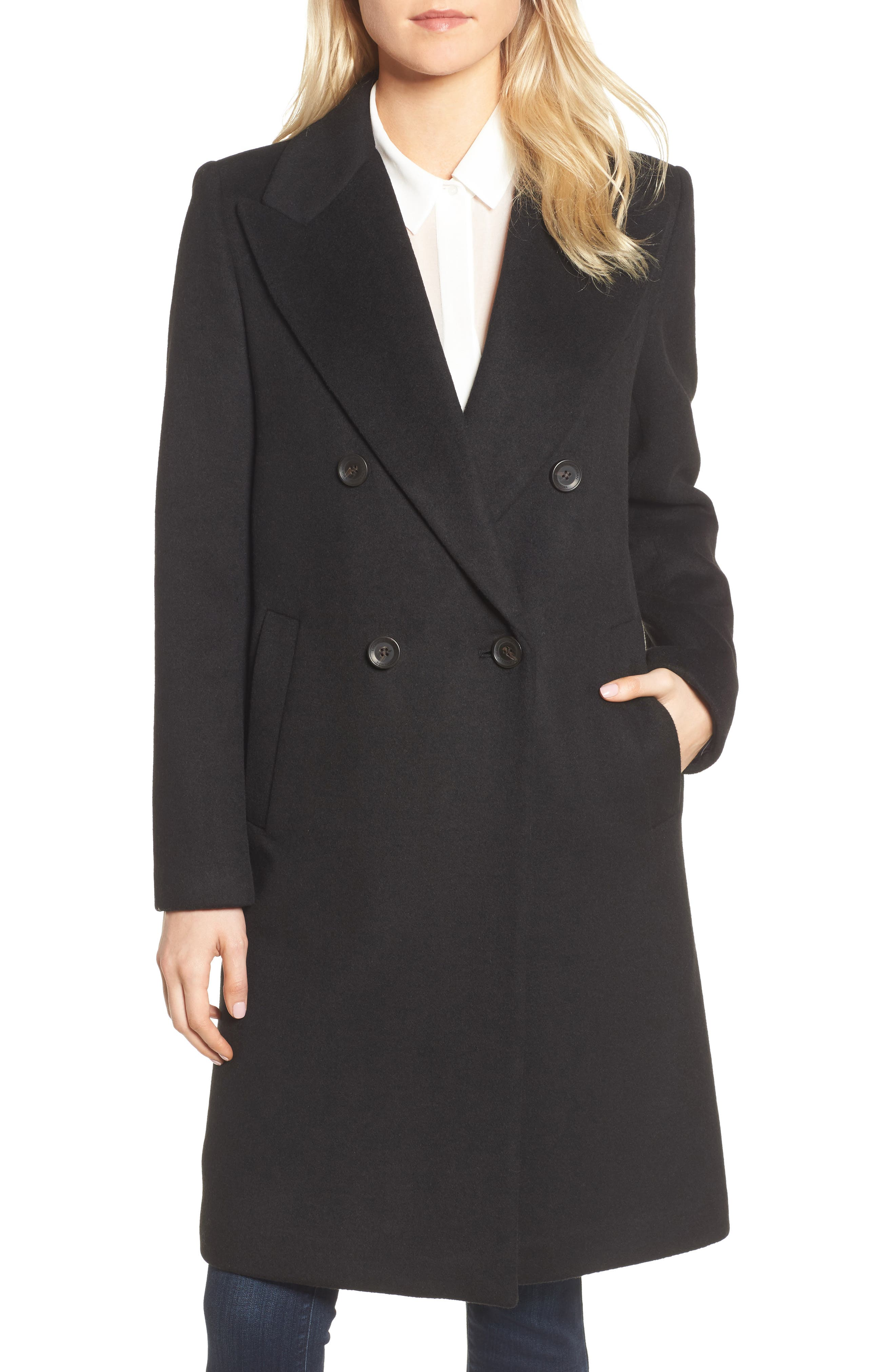 DKNY Lavish Wool Blend Coat,                             Main thumbnail 1, color,                             Black