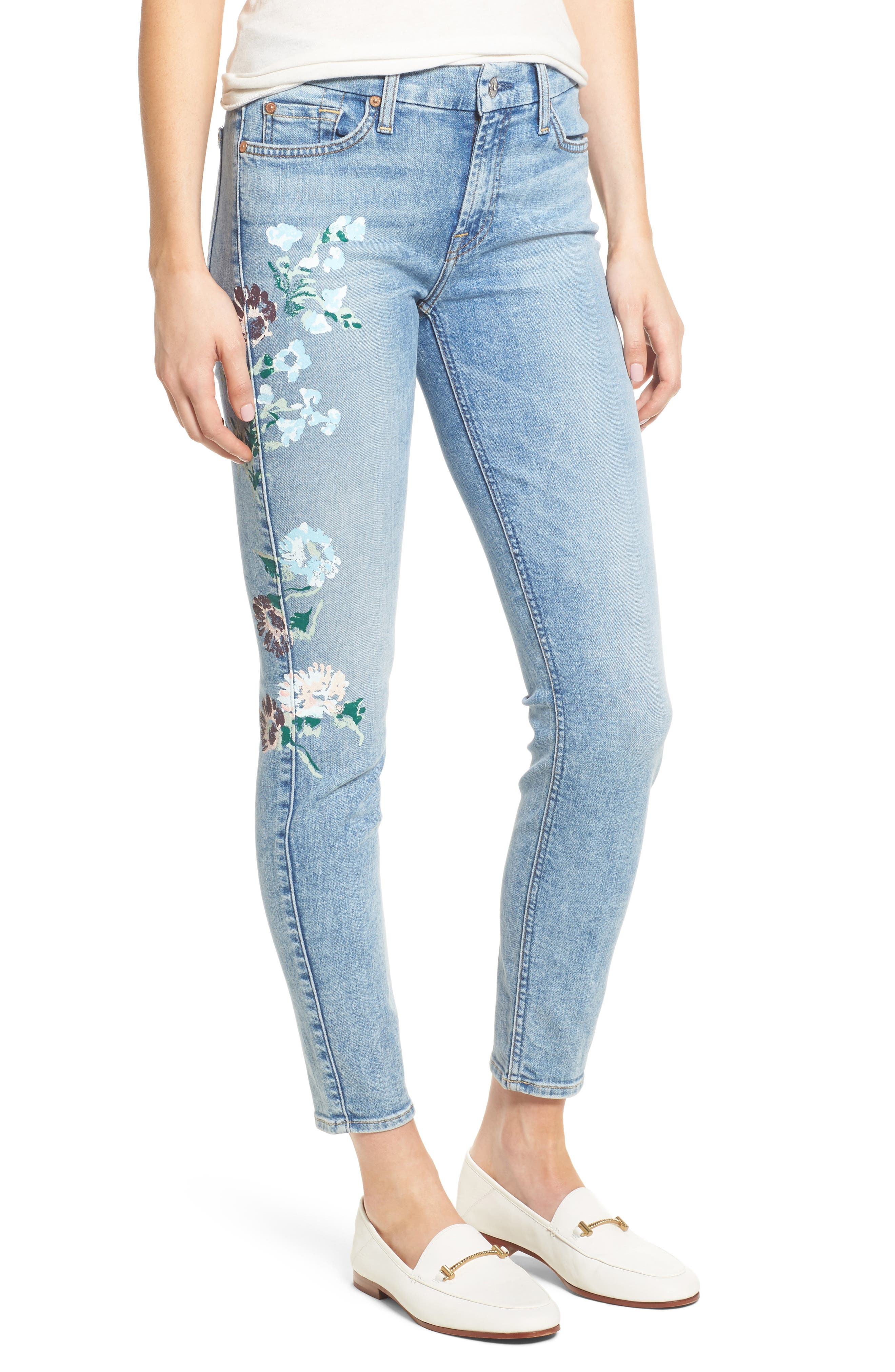 Embellished & Ripped Ankle Skinny Jeans,                             Main thumbnail 1, color,                             Radiant Wythe W/ Floral