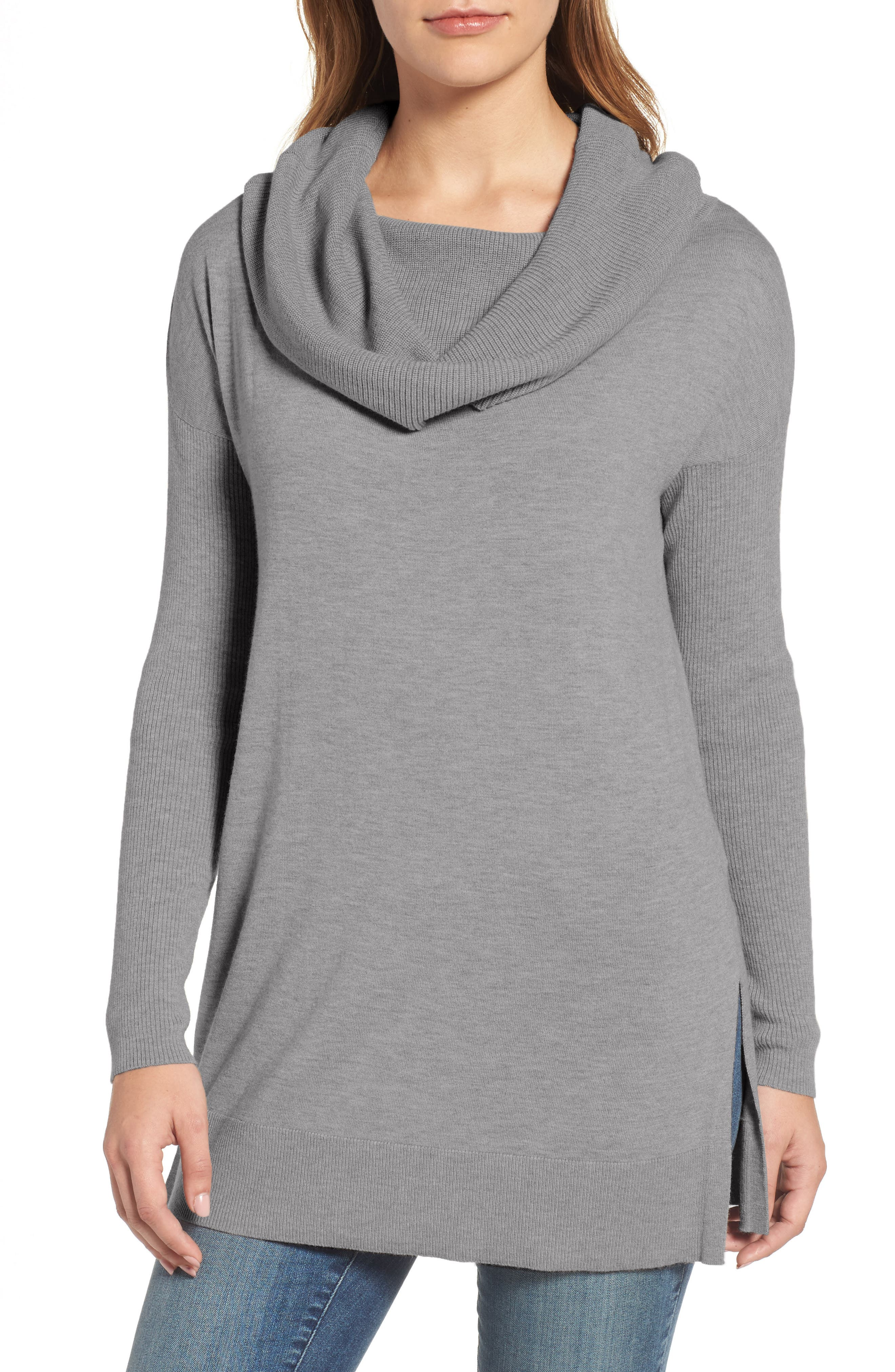 Side Slit Cowl Neck Tunic,                             Main thumbnail 1, color,                             Heather Dark Grey