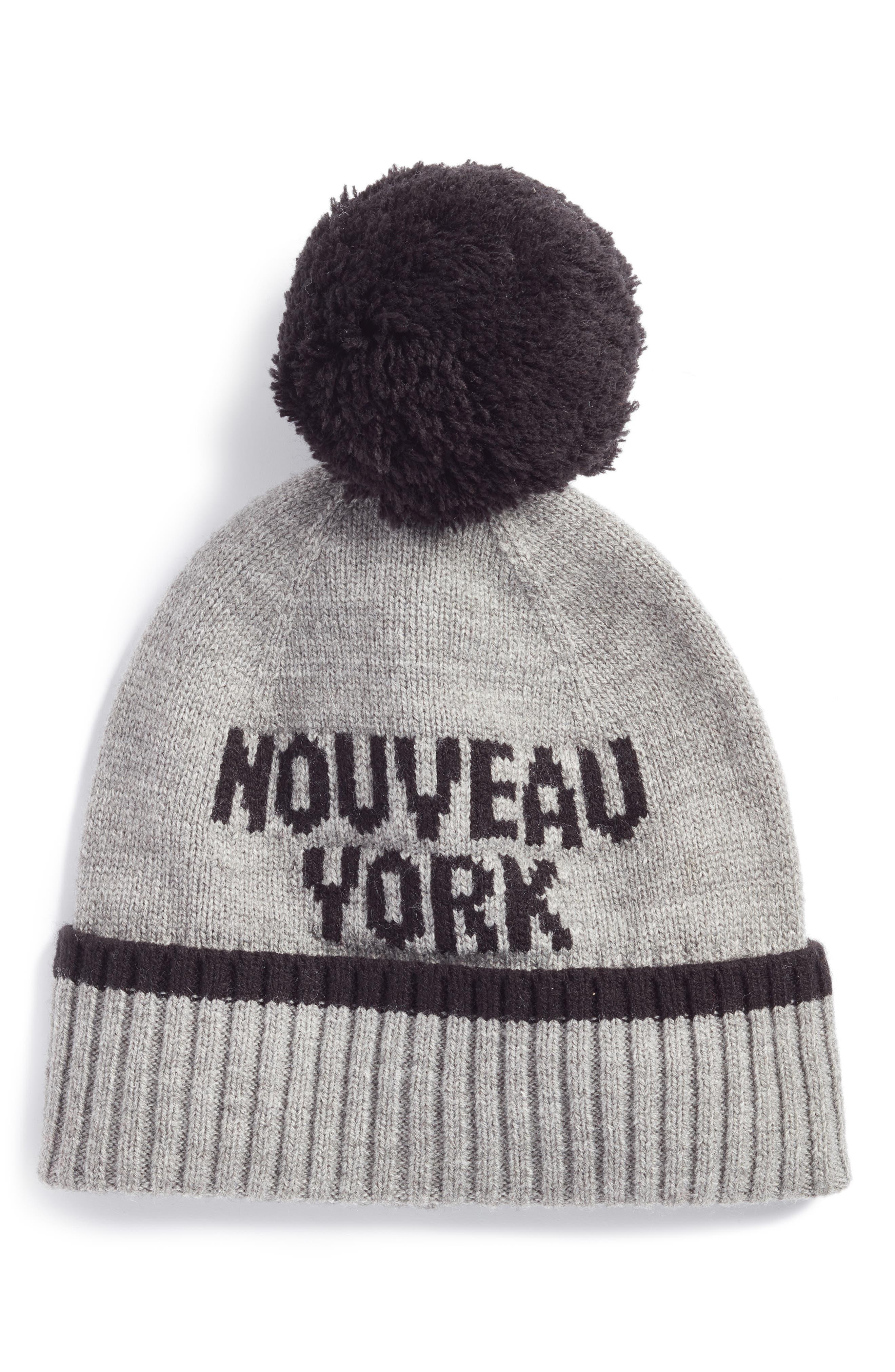 nouveau york pom beanie,                         Main,                         color, Heather Gray/ Black