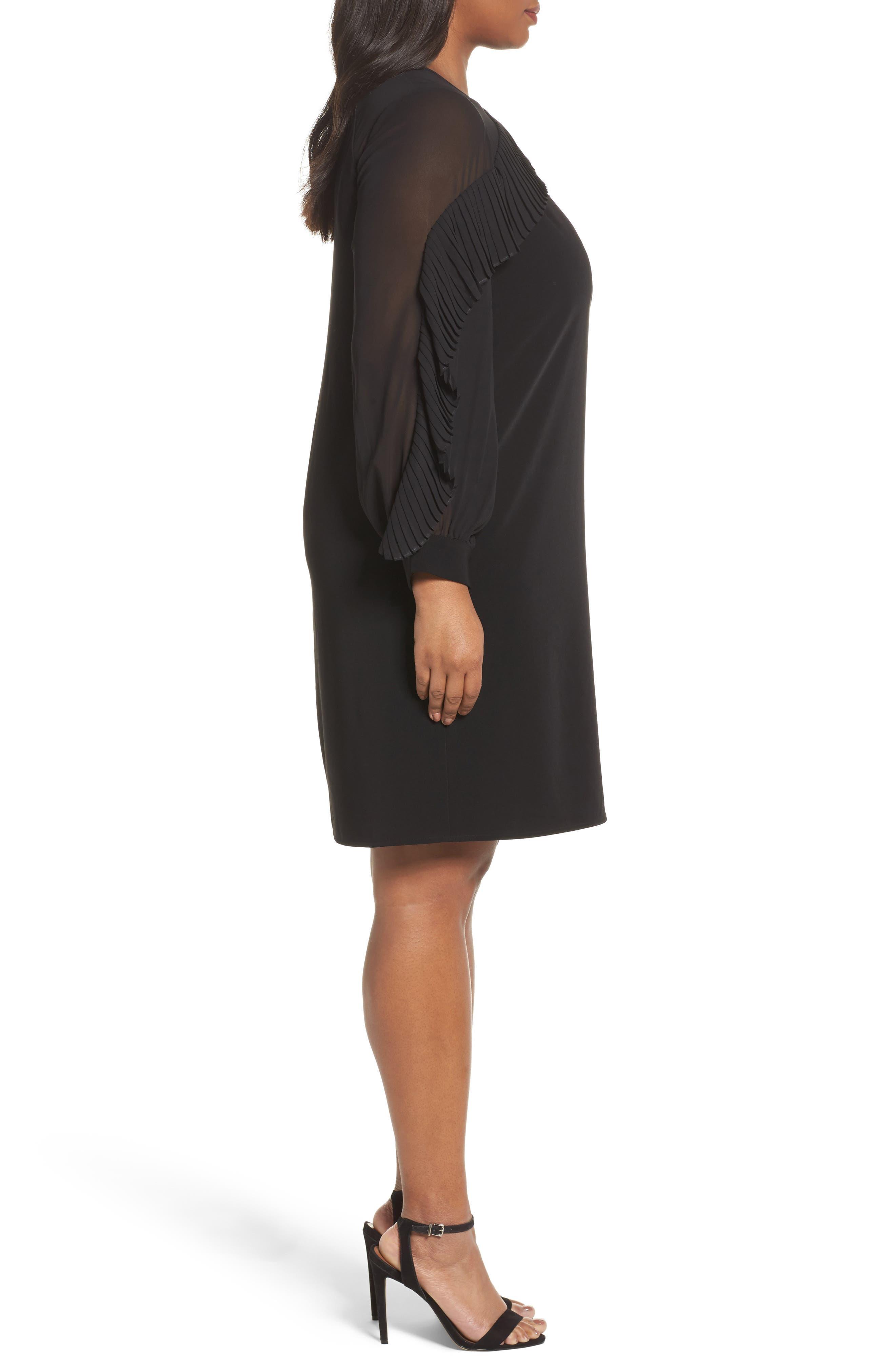 Pleat Ruffle Trim Shift Dress,                             Alternate thumbnail 3, color,                             Black