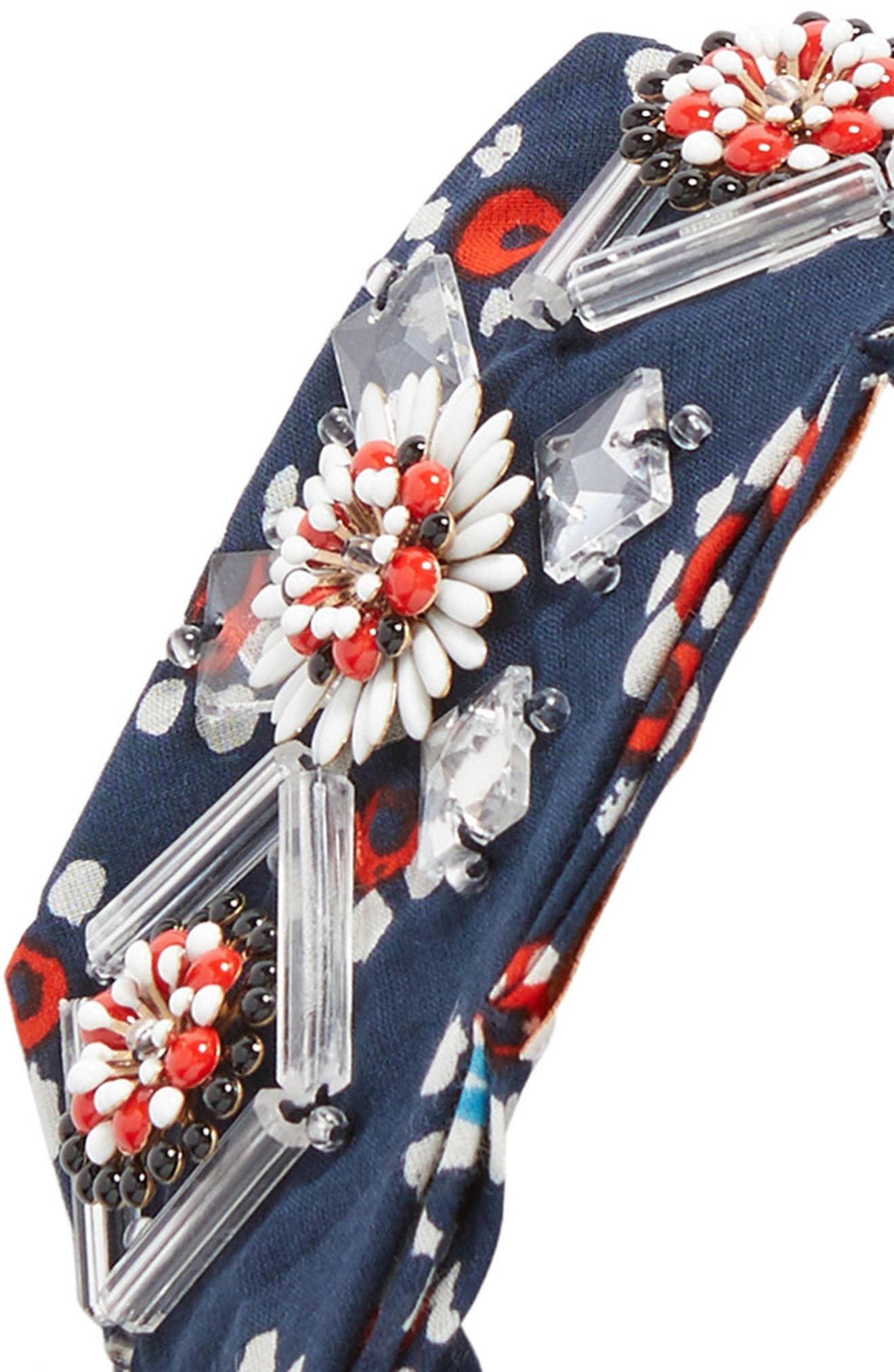 Embellished Floral Scarf,                             Alternate thumbnail 3, color,                             Navy Stamped Floral