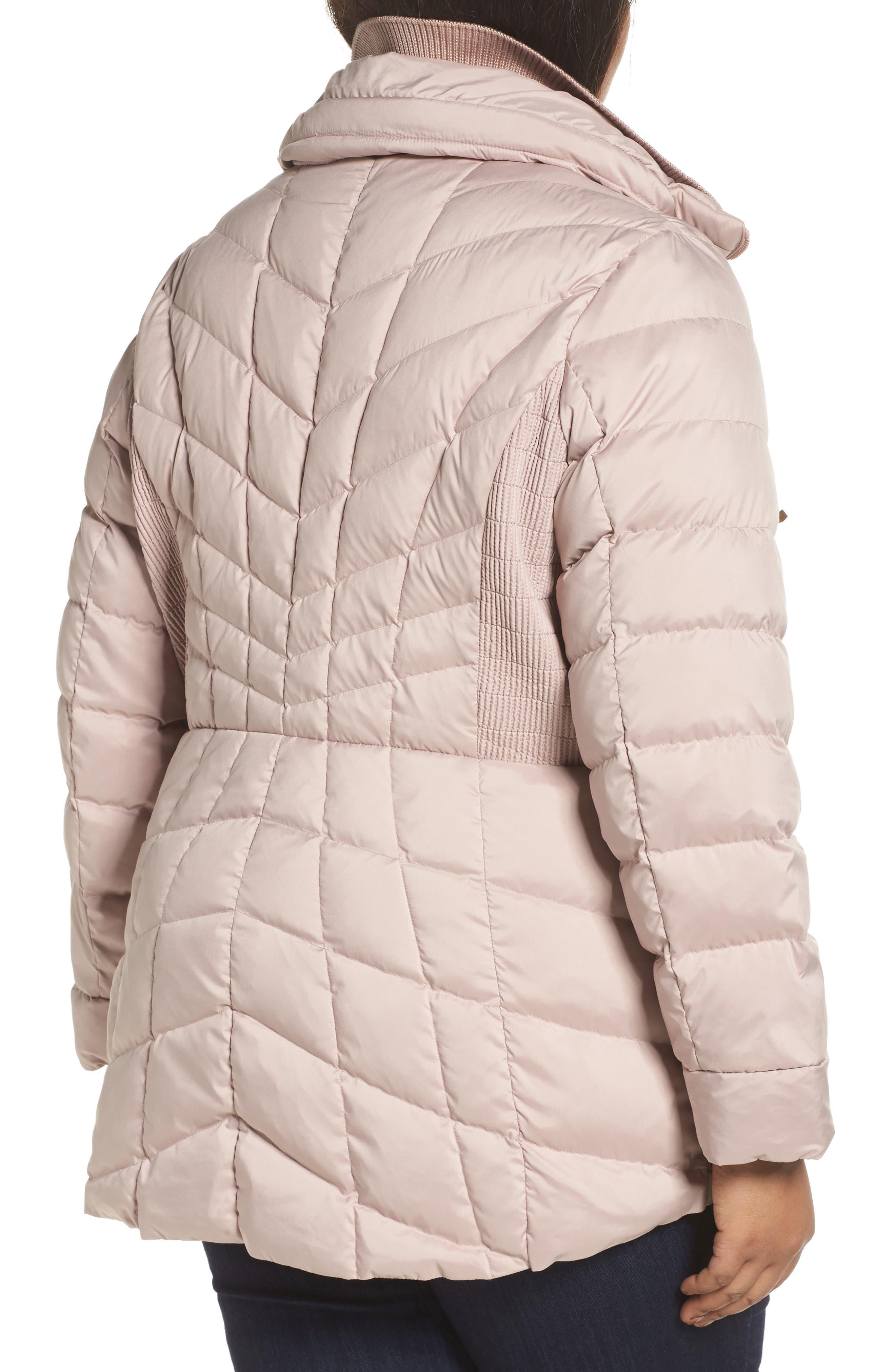 Packable Water Resistant Down & PrimaLoft<sup>®</sup> Coat,                             Alternate thumbnail 2, color,                             Petal Pink/ Snow Leopard