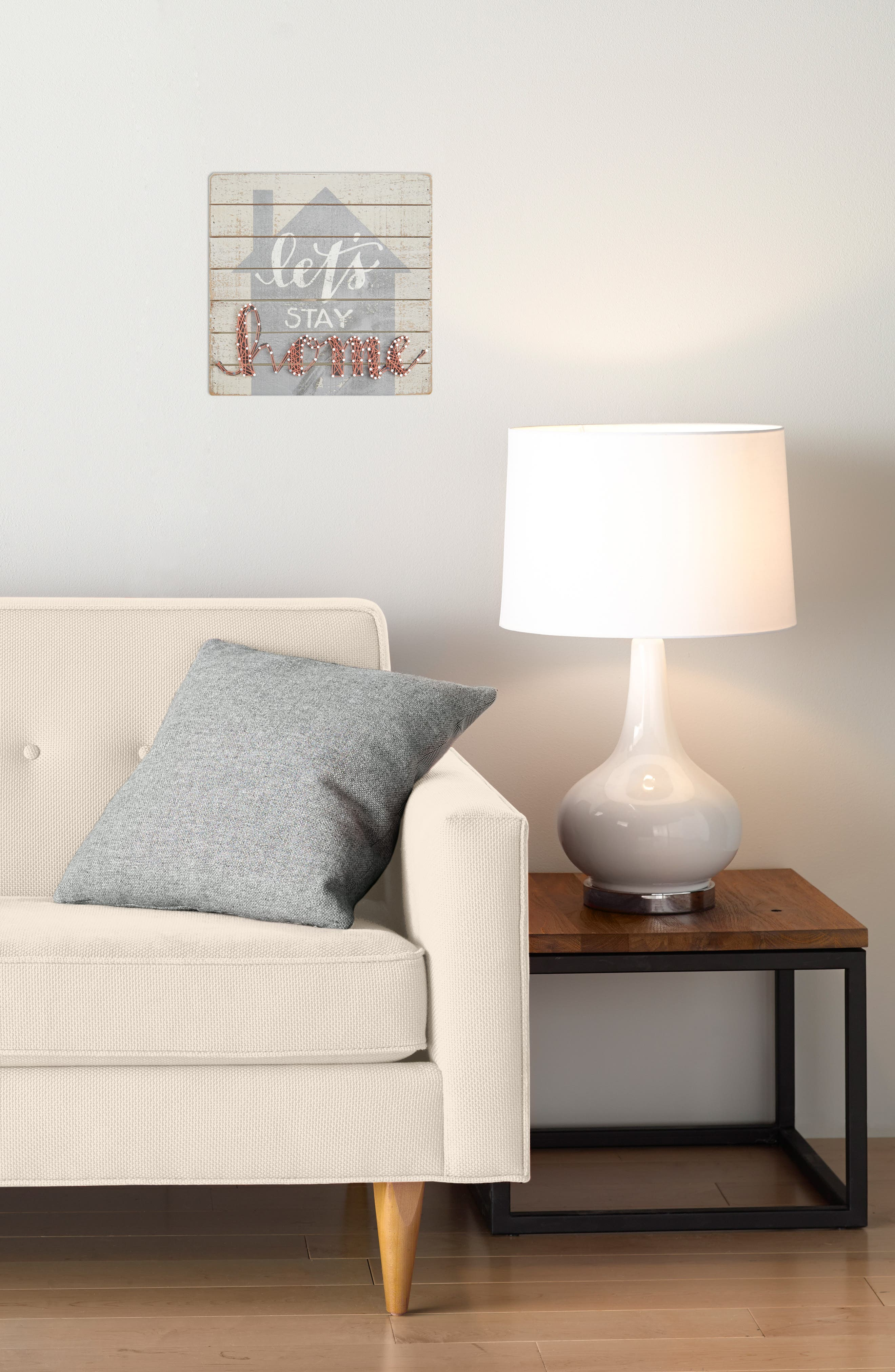 Let's Stay Home String Art Box Sign,                             Alternate thumbnail 2, color,                             Ivory