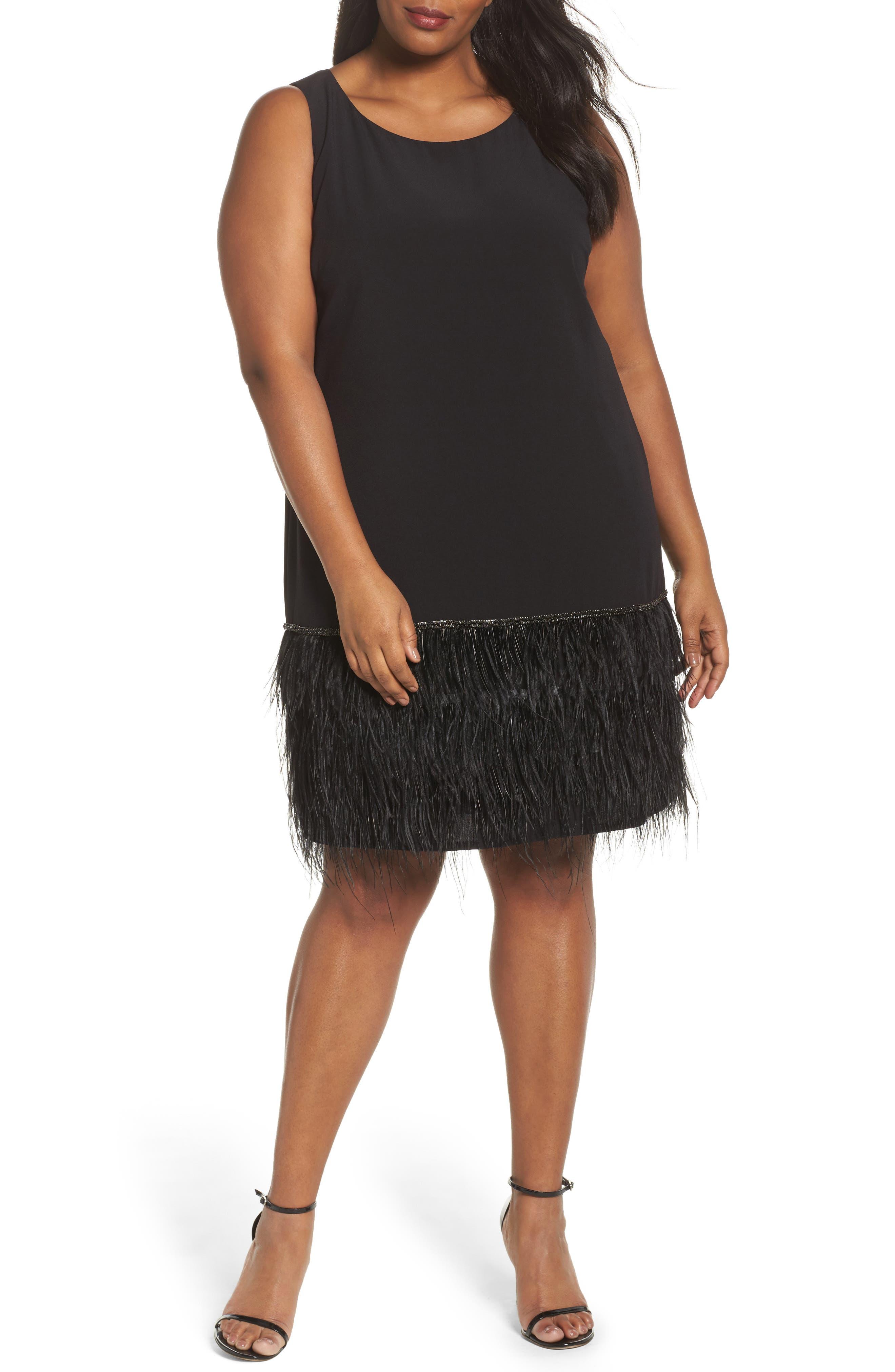 Feather Hem Shift Dress,                         Main,                         color, Black