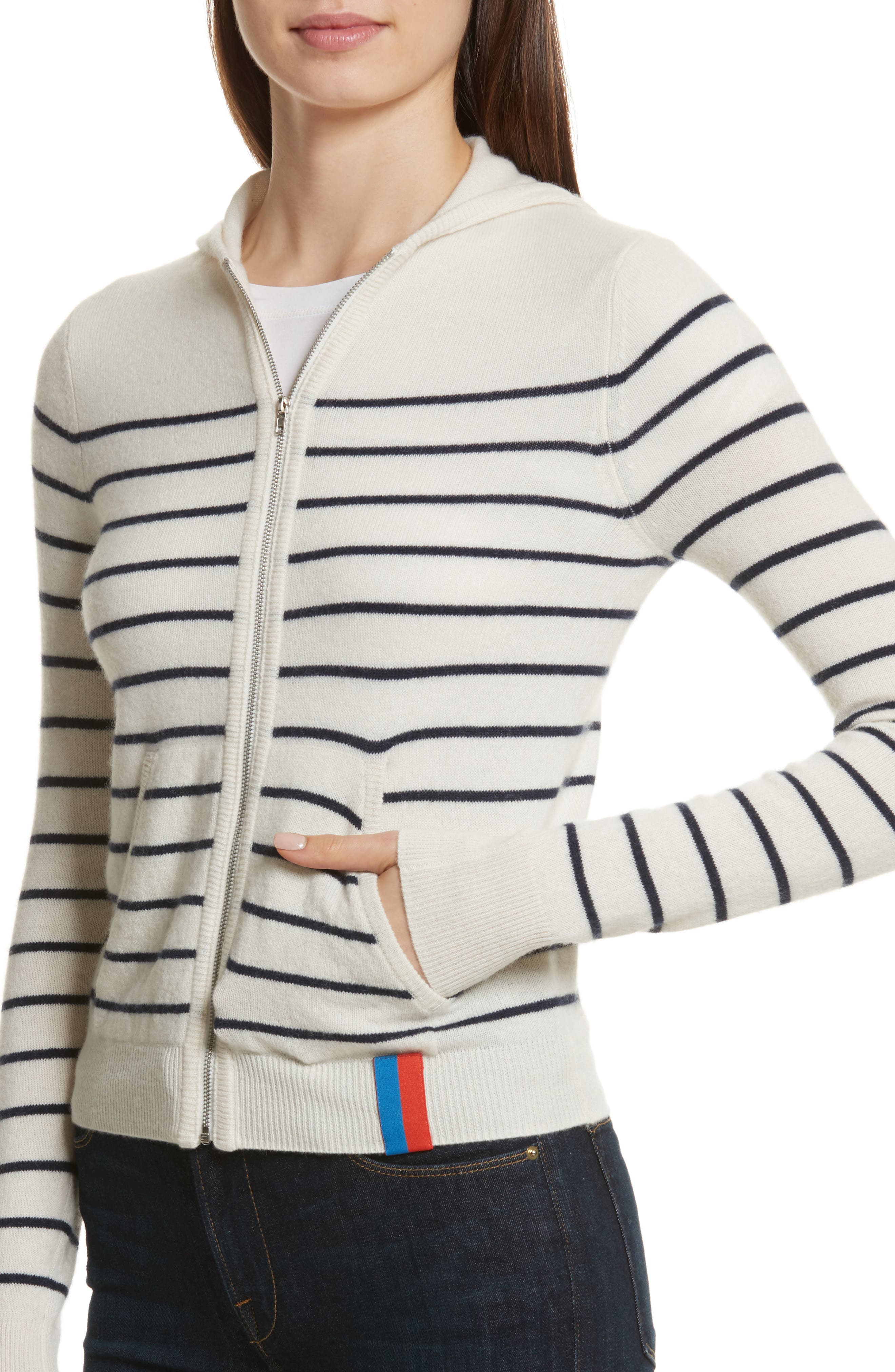 The Drake Stripe Cashmere Hoodie Sweater,                             Alternate thumbnail 4, color,                             Cream/ Navy