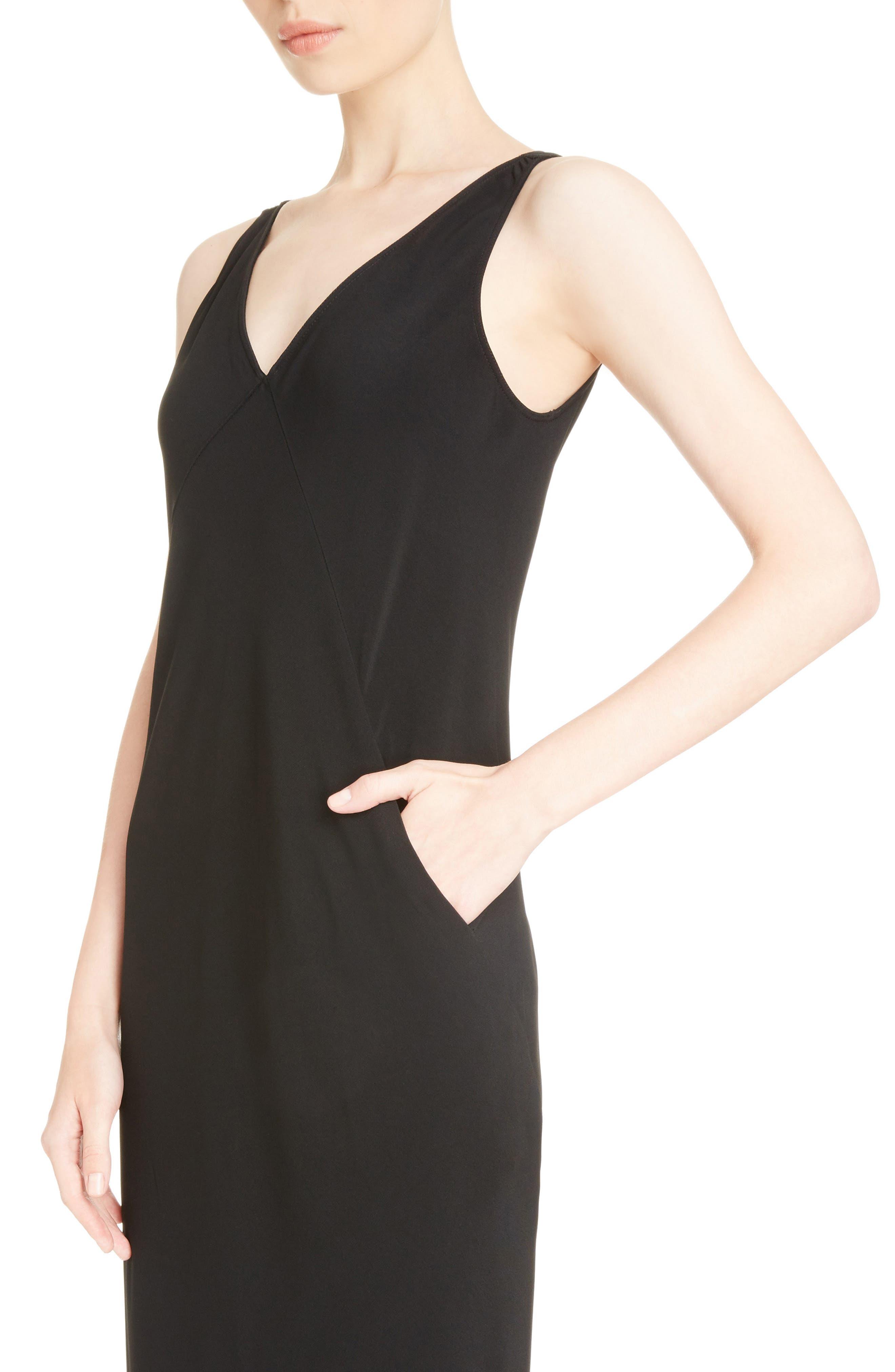 Cady Midi Dress,                             Alternate thumbnail 4, color,                             Black