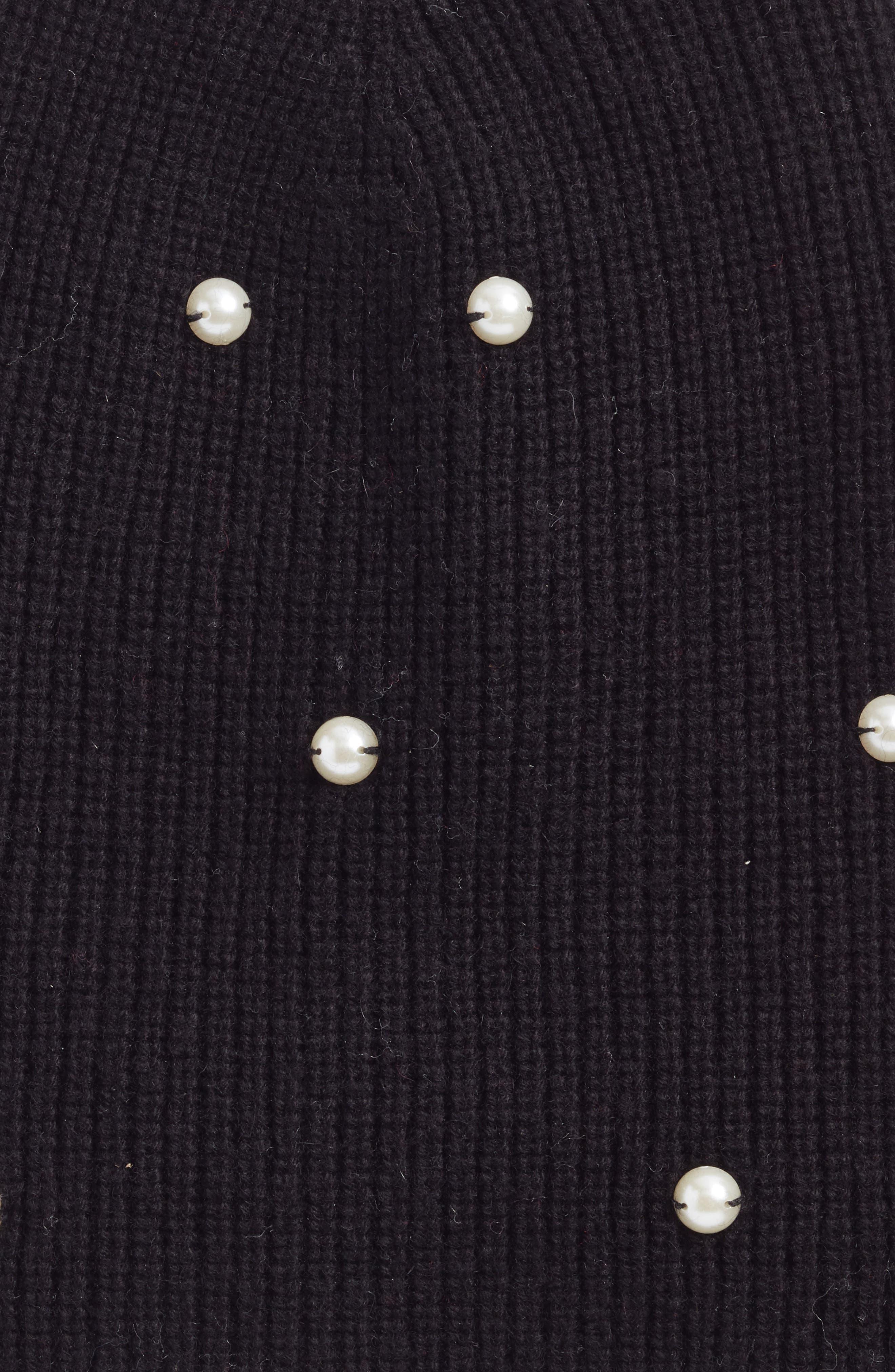 imitation pearl beanie,                             Alternate thumbnail 2, color,                             Black