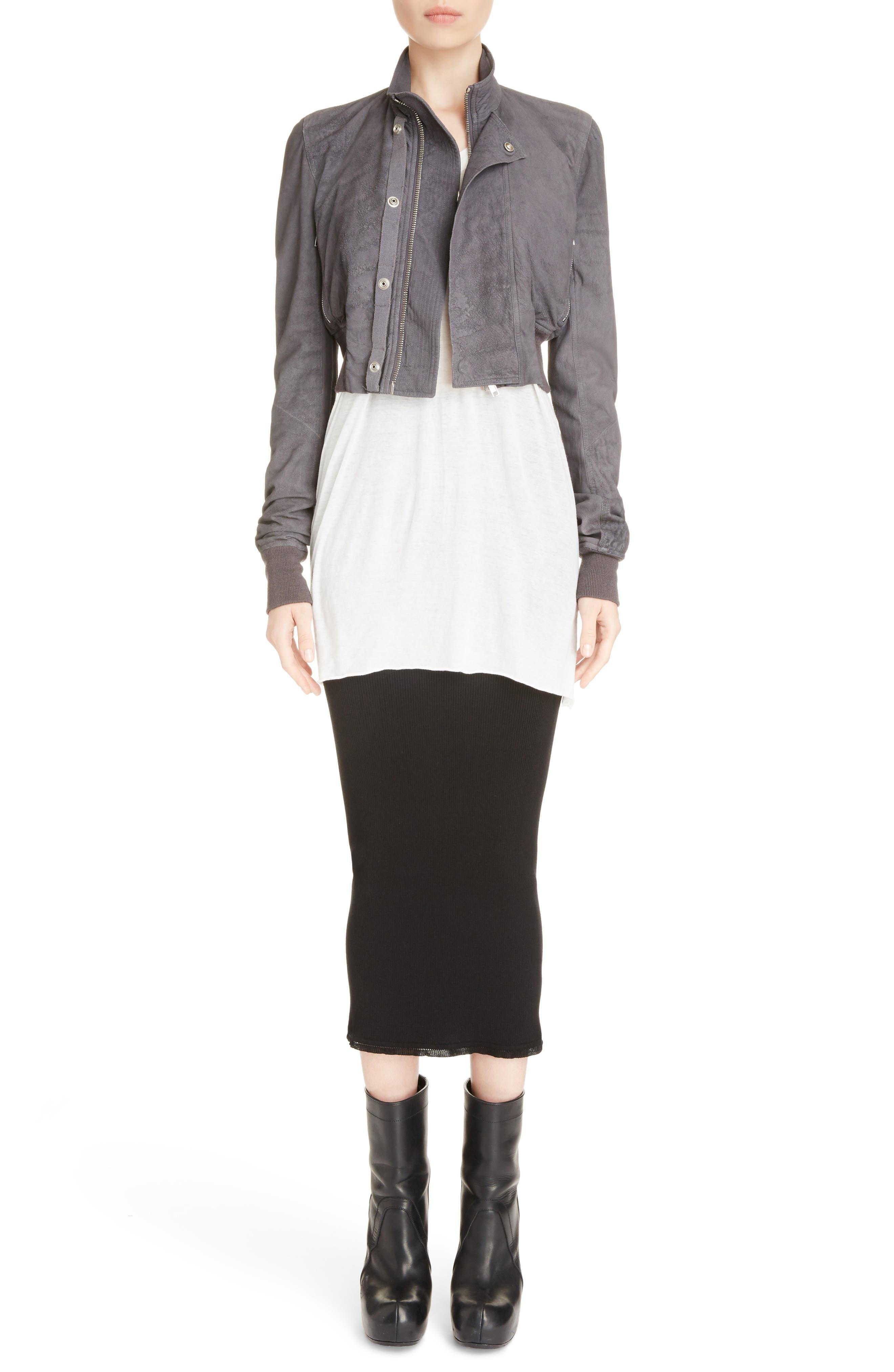 Stretch Knit Midi Skirt,                             Alternate thumbnail 8, color,                             Black