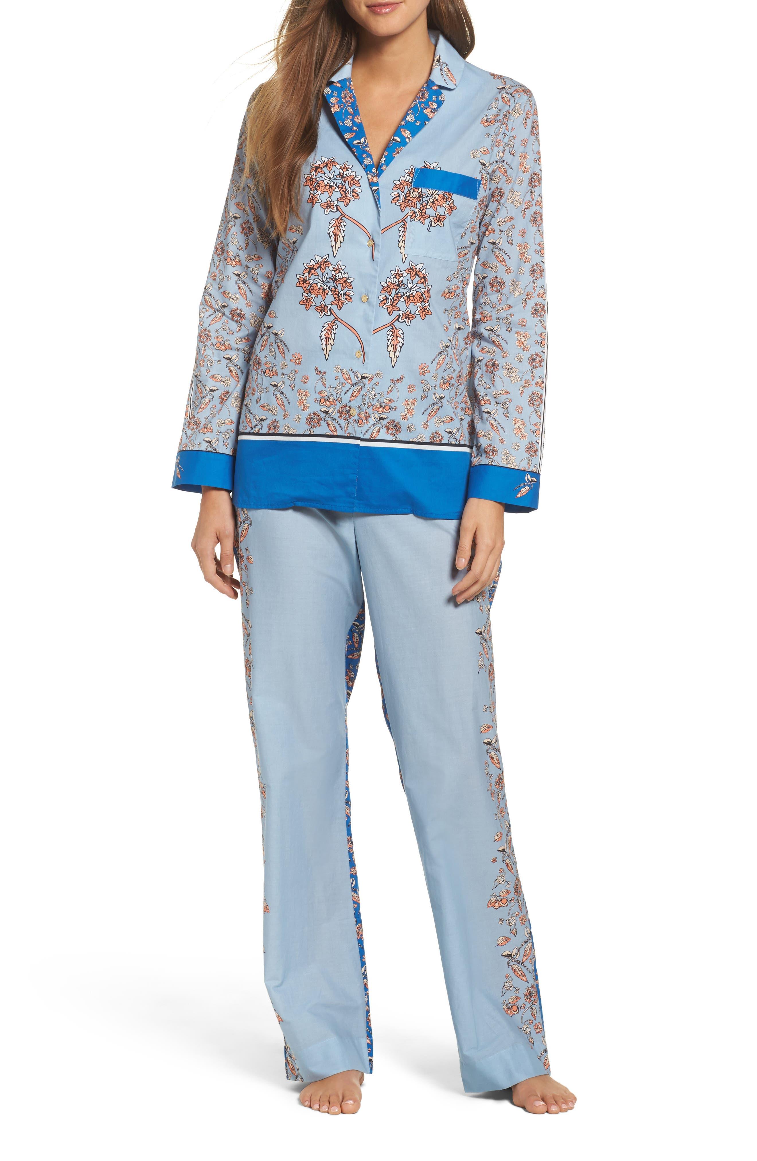 Alternate Image 1 Selected - Yolke Classic Print Cotton Poplin Pajamas