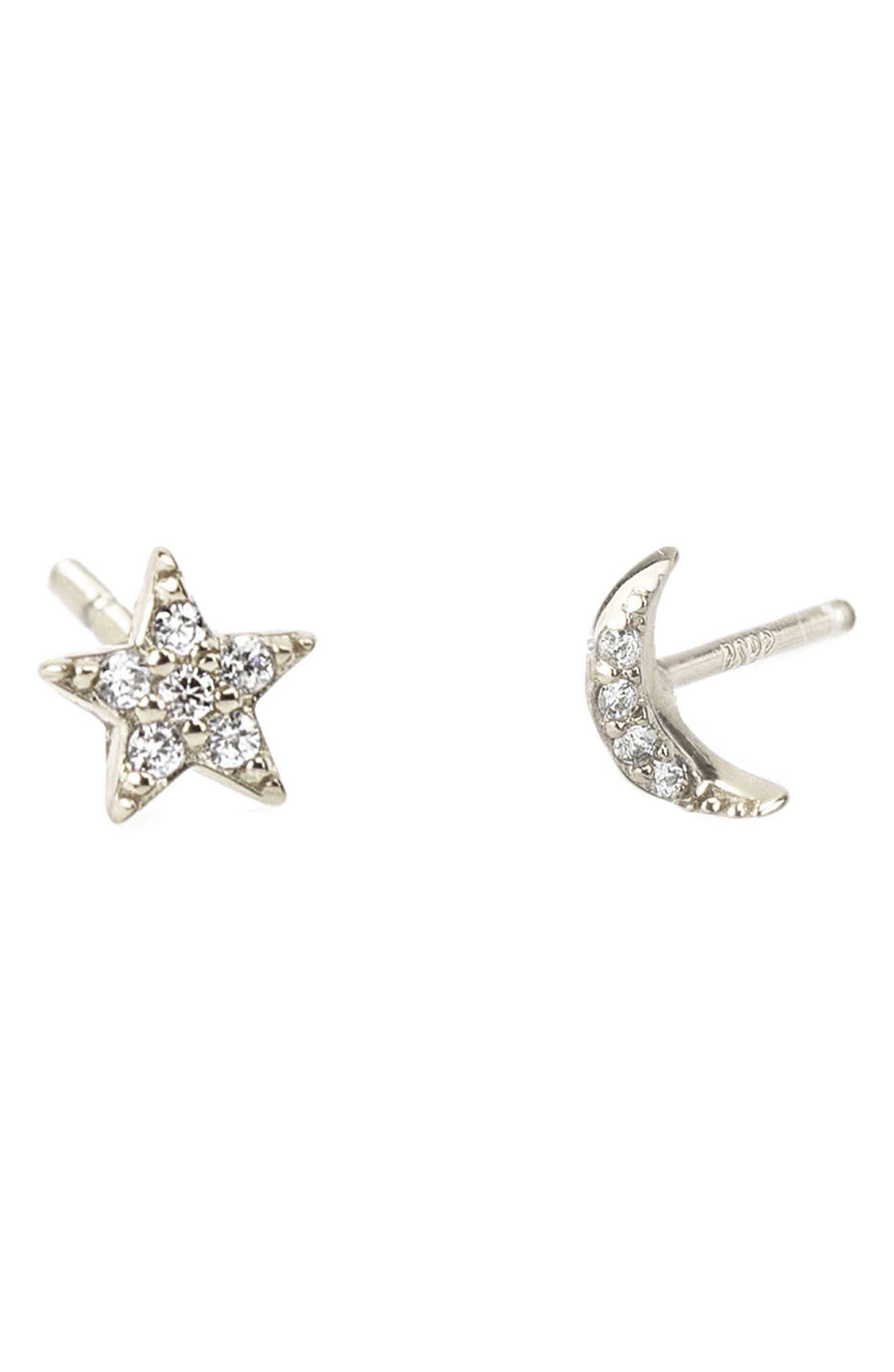 Alternate Image 1 Selected - Kris Nations Pavé Star & Moon Stud Earrings