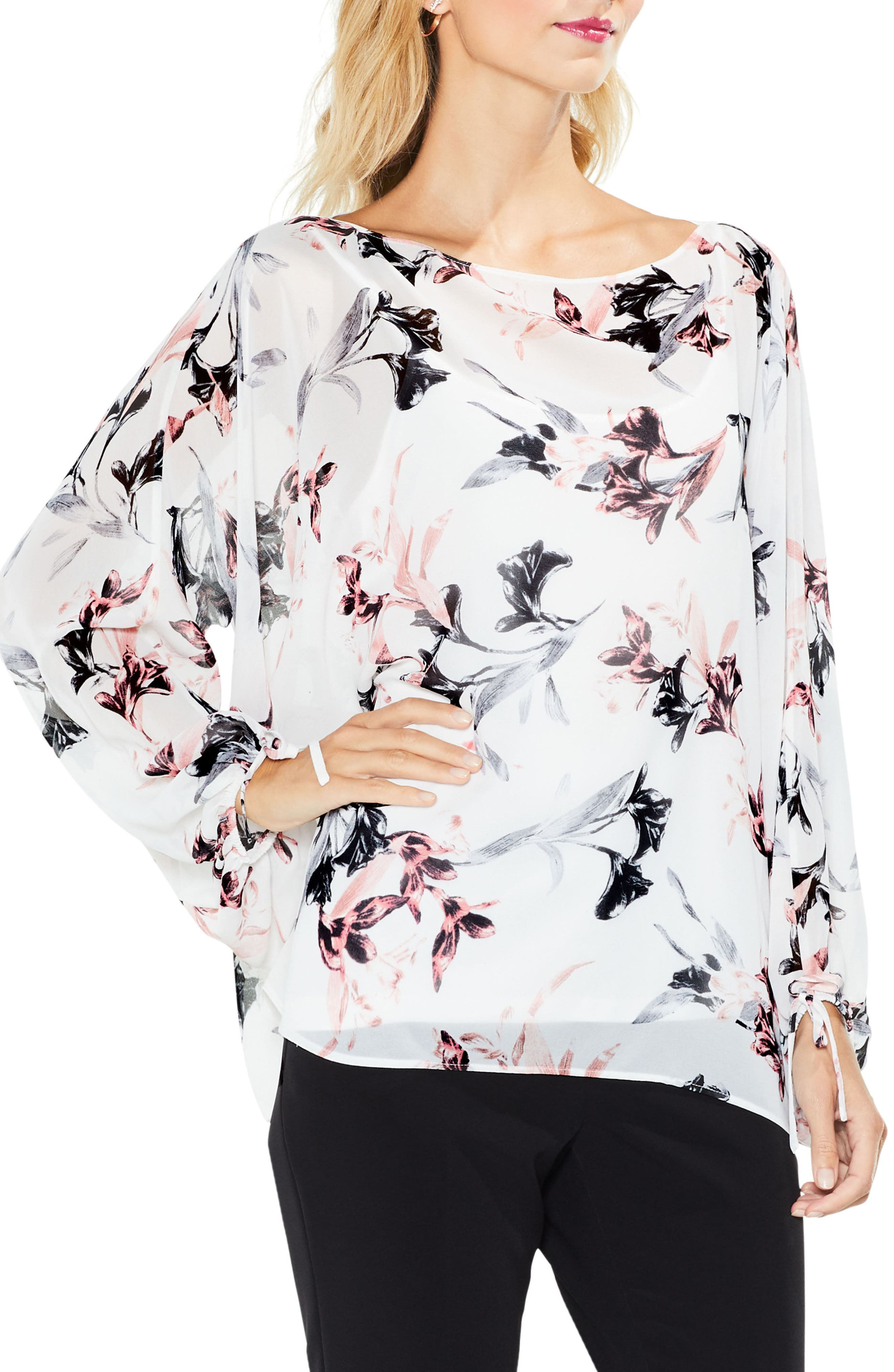 Lily Melody Blosuson Sleeve Top,                         Main,                         color, New Ivory