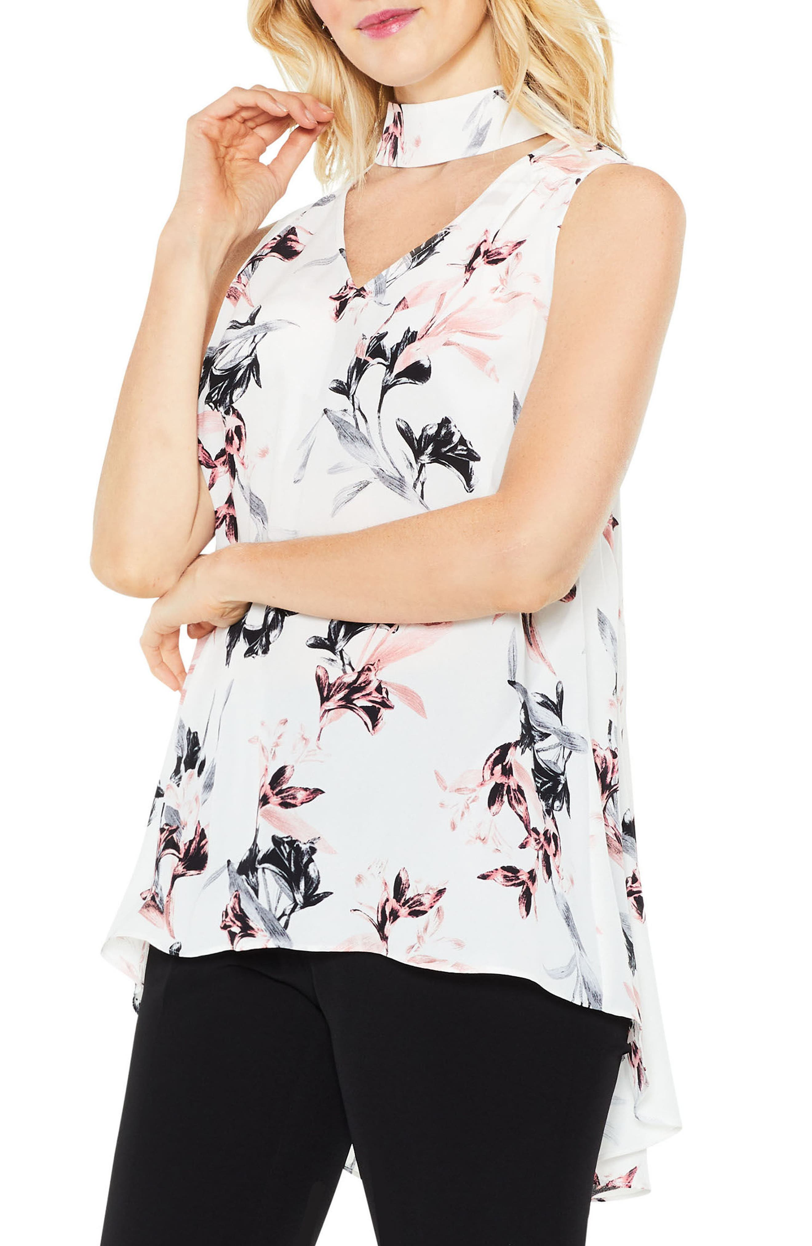 Lily Melody Choker Neck Blouse,                         Main,                         color, New Ivory