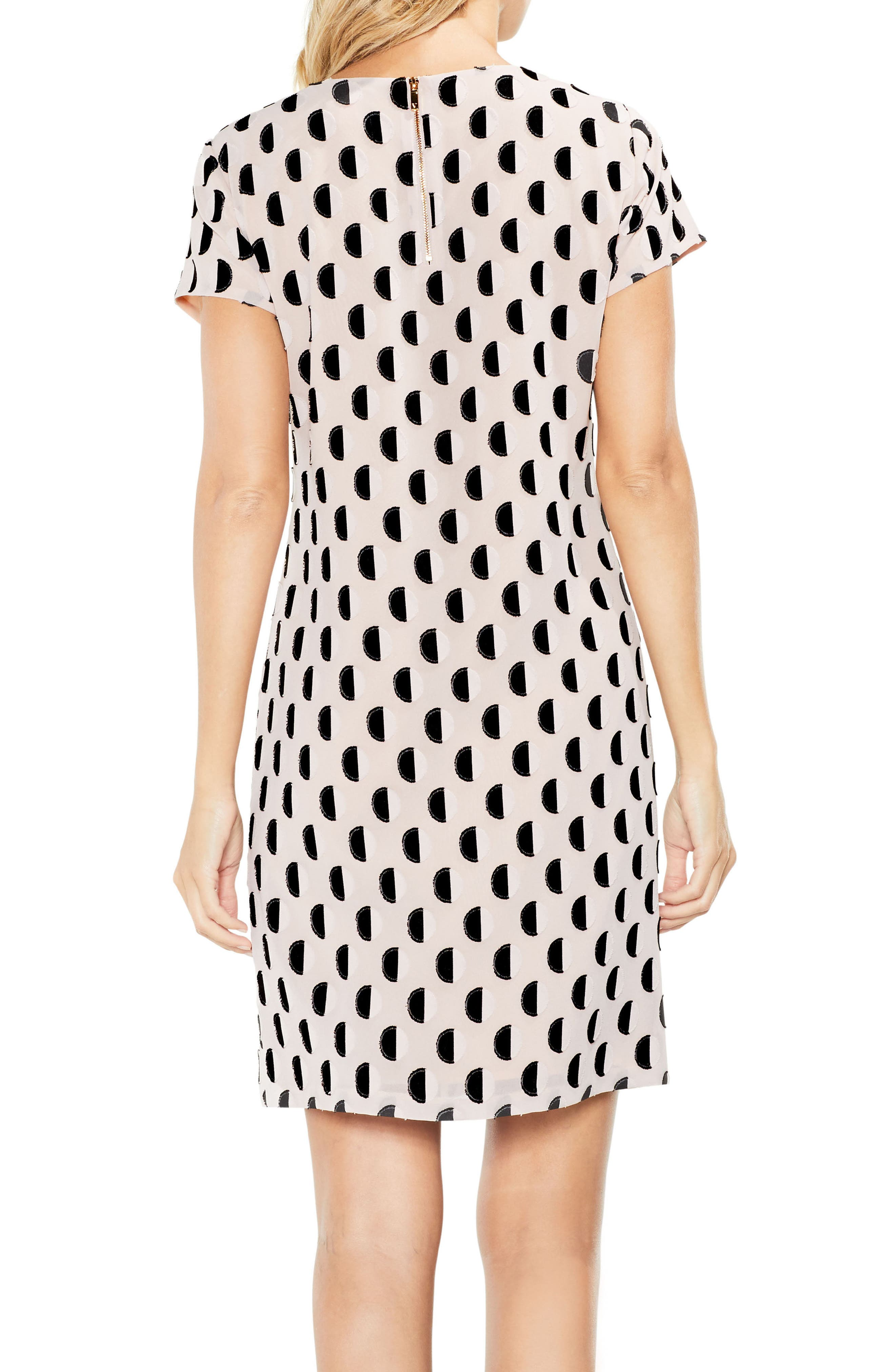 Graphic Clip Dot Shift Dress,                             Alternate thumbnail 2, color,                             Rose Buff