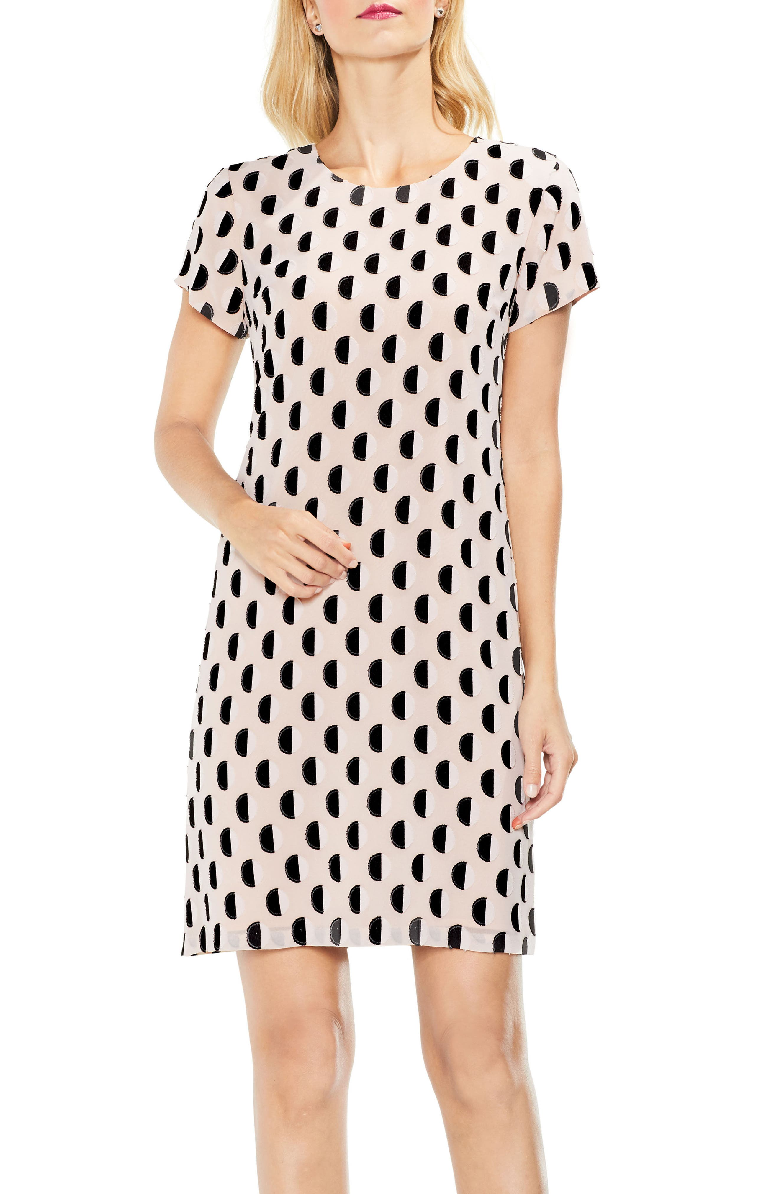 Graphic Clip Dot Shift Dress,                             Main thumbnail 1, color,                             Rose Buff