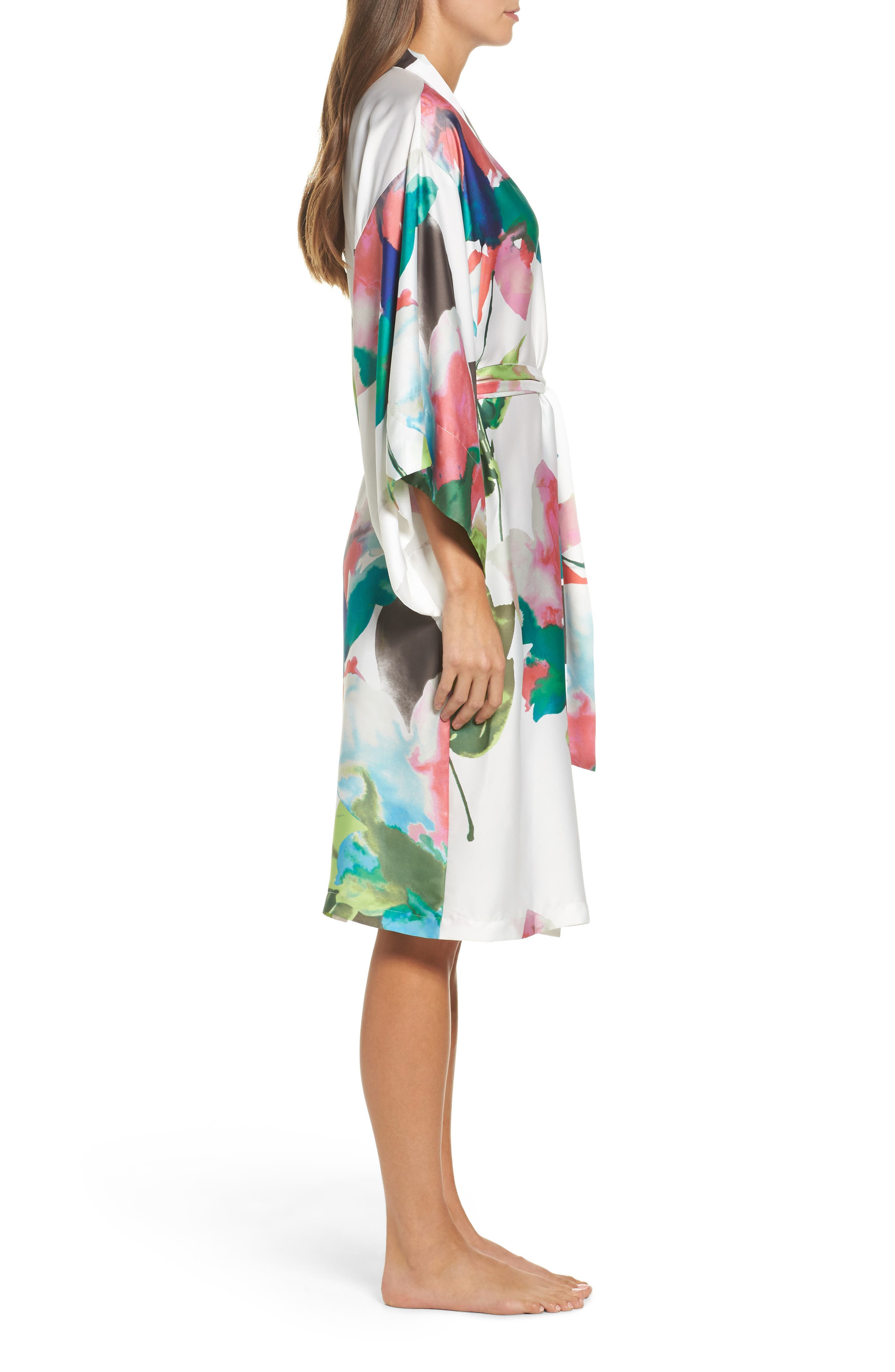 Water Lily Print Satin Wrap Robe,                             Alternate thumbnail 3, color,                             Mlt- Warm Wht Multi