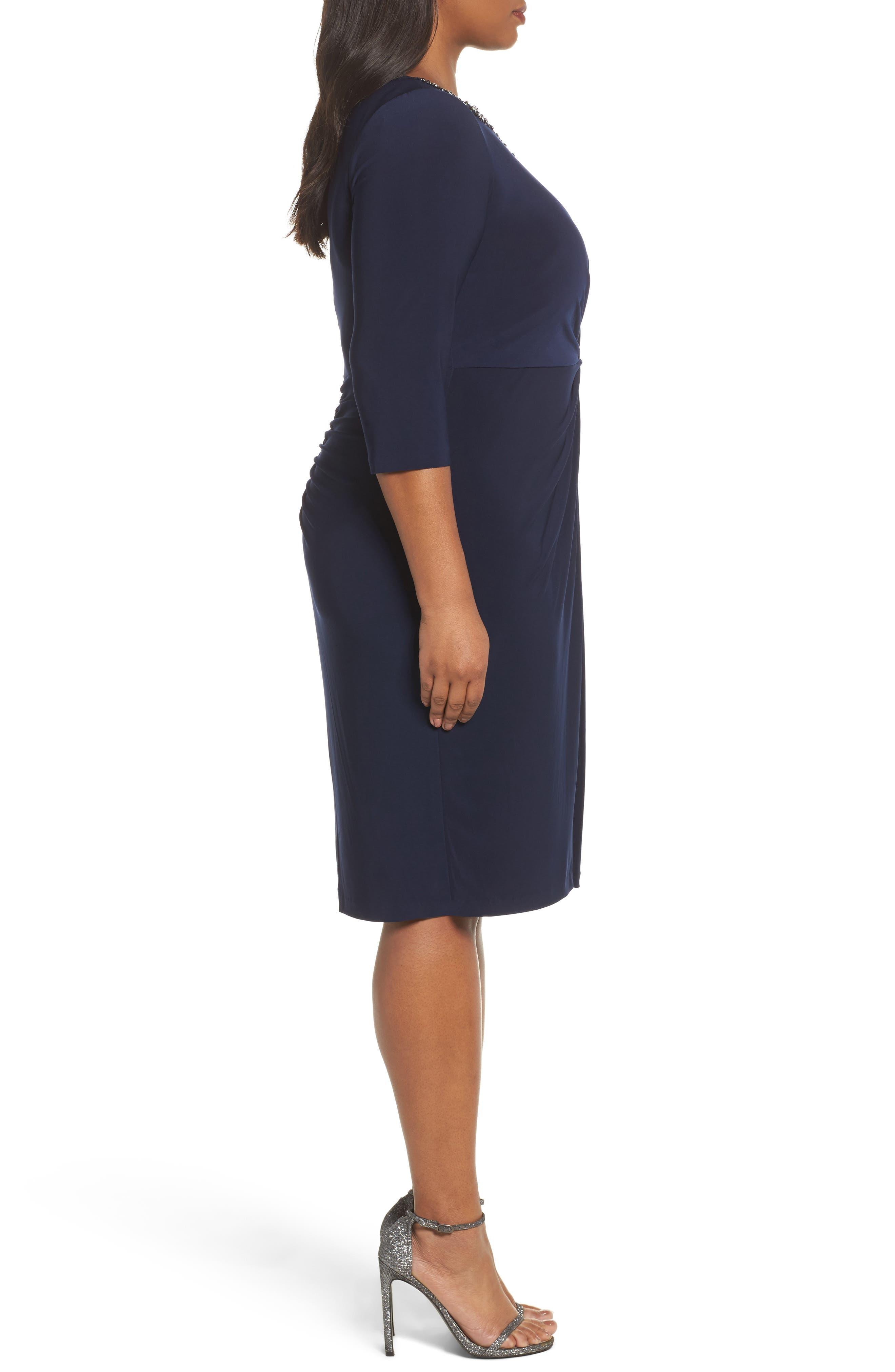 Alternate Image 3  - Alex Evenings Jewel Neck Twist Front Shift Dress (Plus Size)
