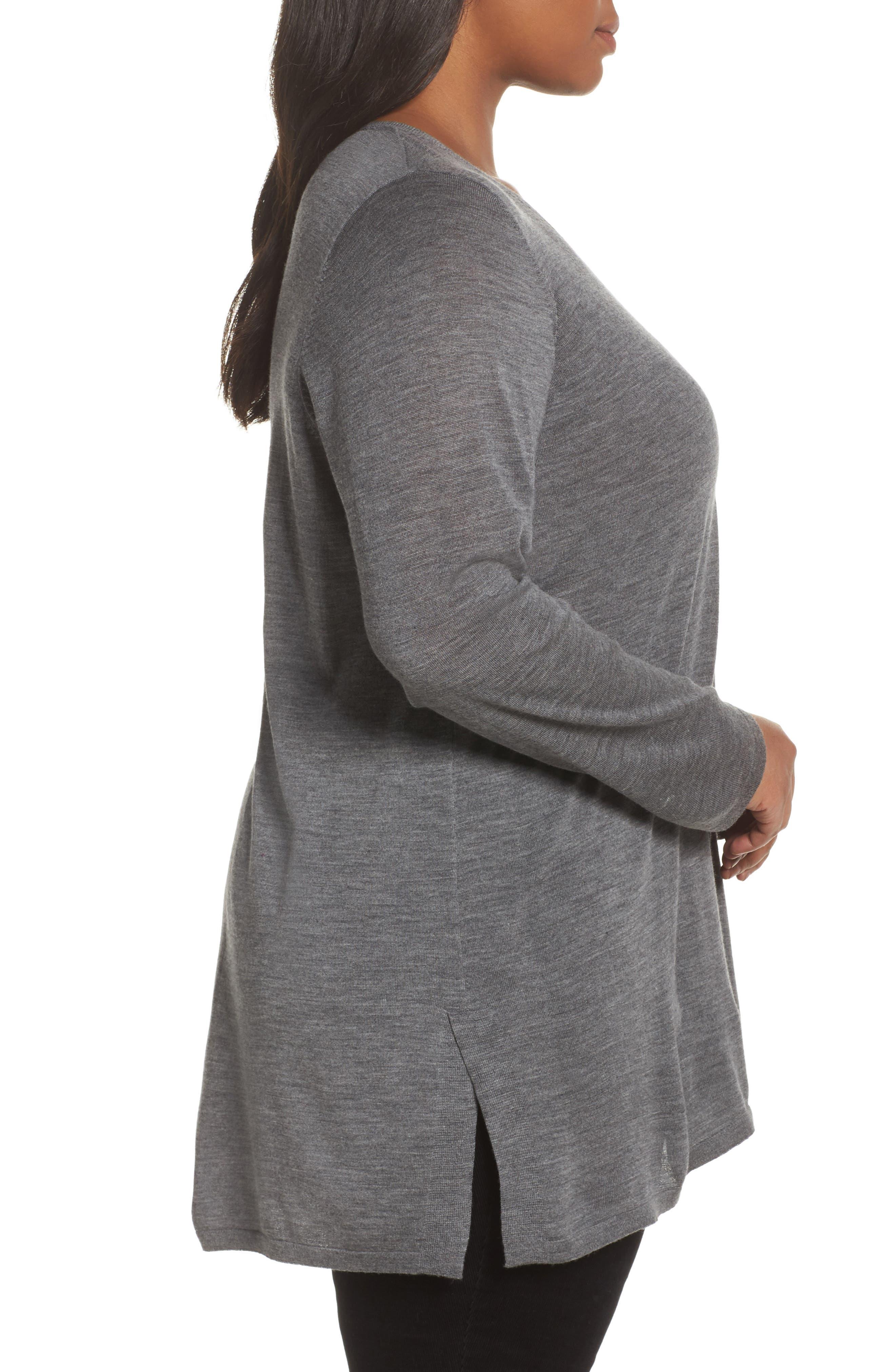 Merino Wool Tunic Sweater,                             Alternate thumbnail 3, color,                             Ash