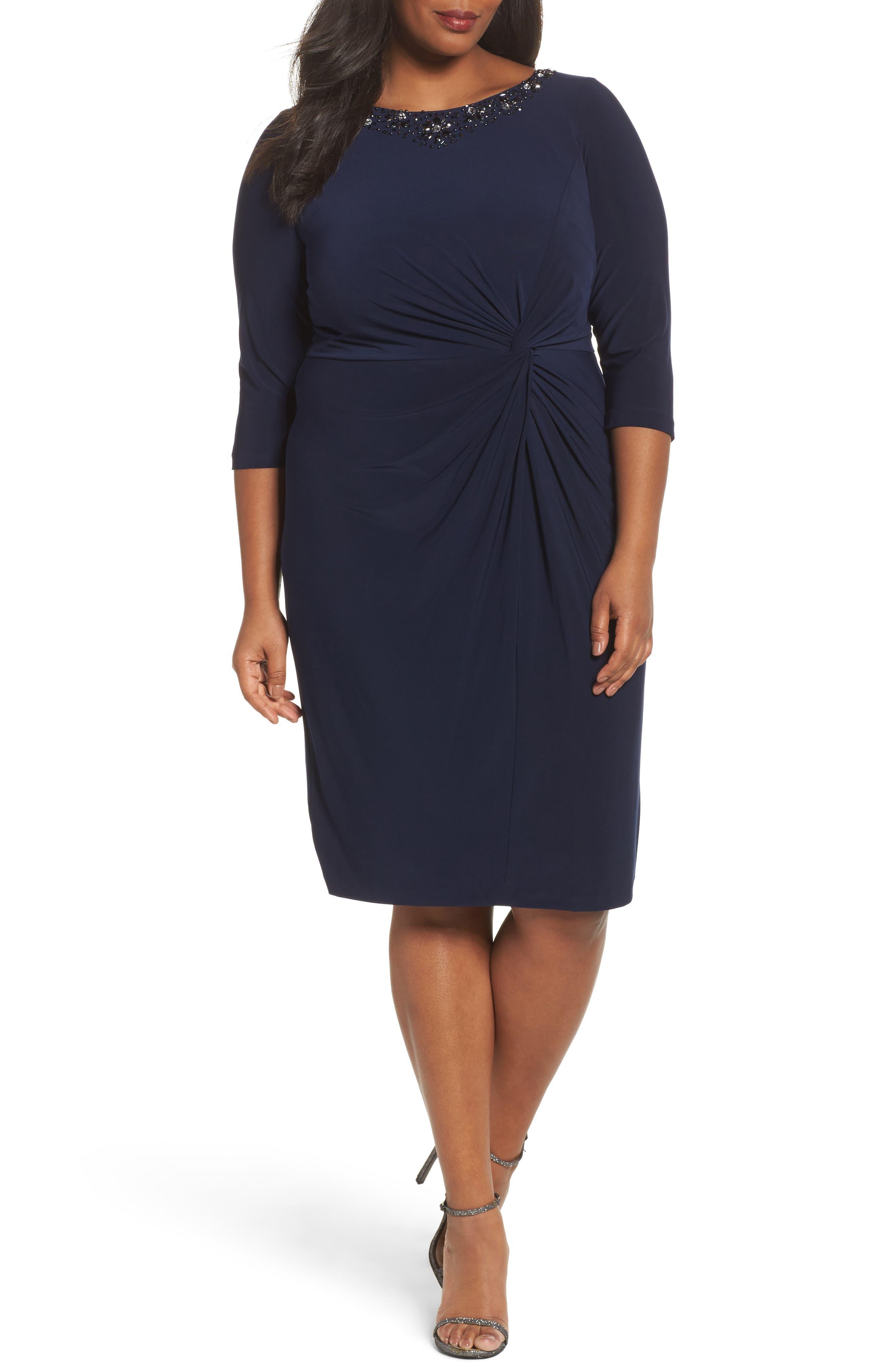 Jewel Neck Twist Front Shift Dress,                         Main,                         color, Navy