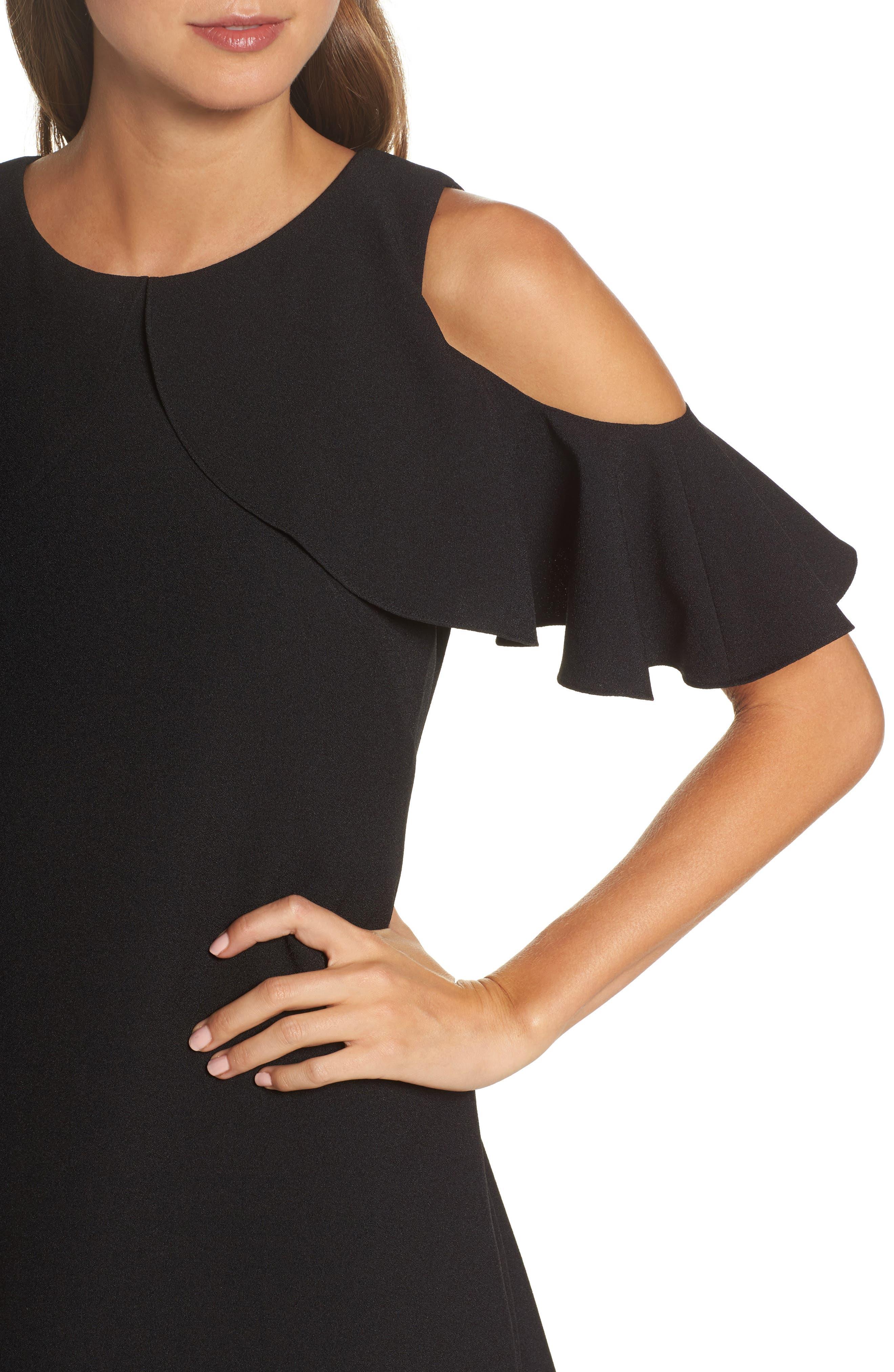 Cold Shoulder Crepe Shift Dress,                             Alternate thumbnail 4, color,                             Black