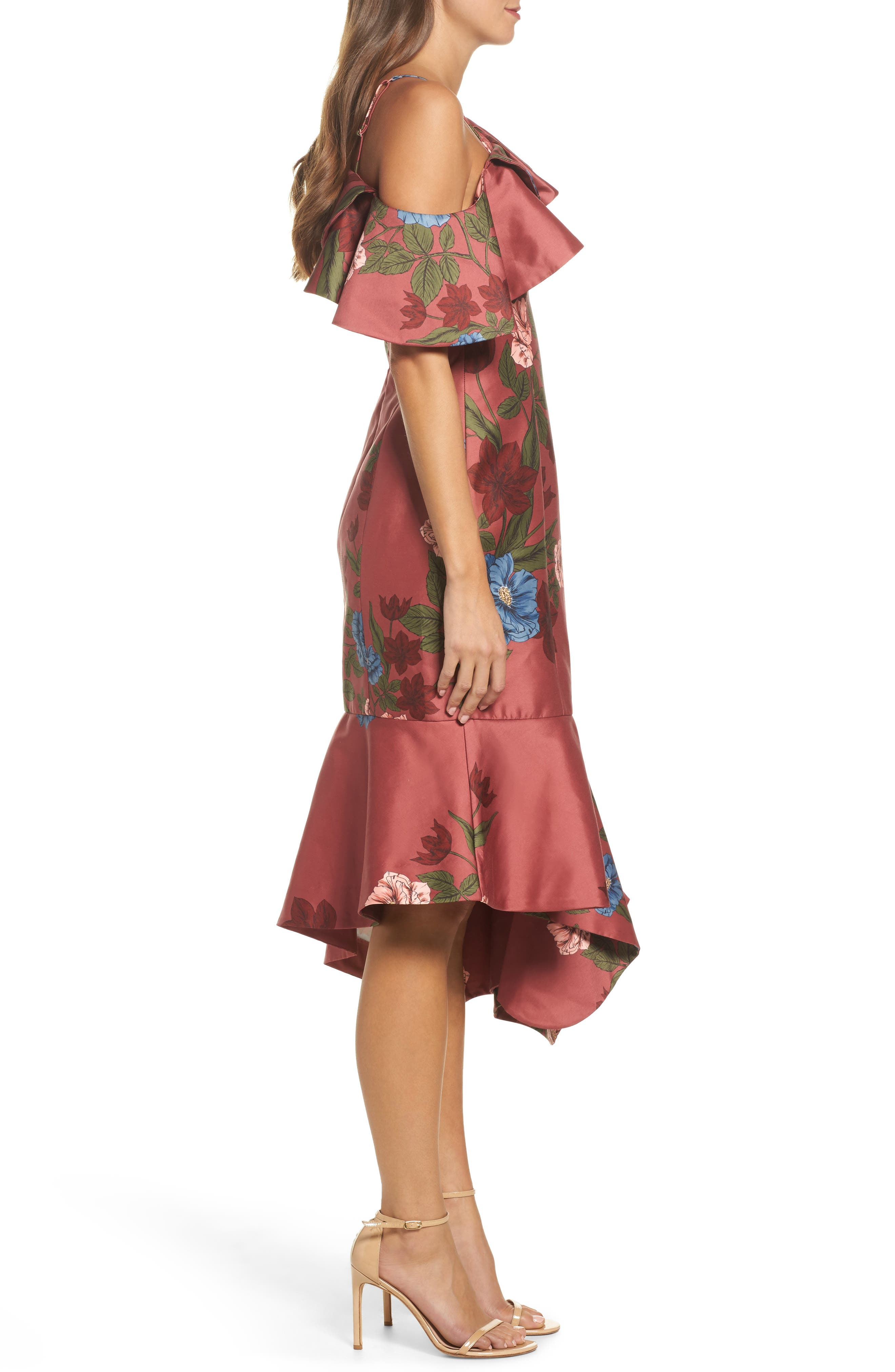 Night Lights Floral Asymmetrical Dress,                             Alternate thumbnail 3, color,                             Spice Floral