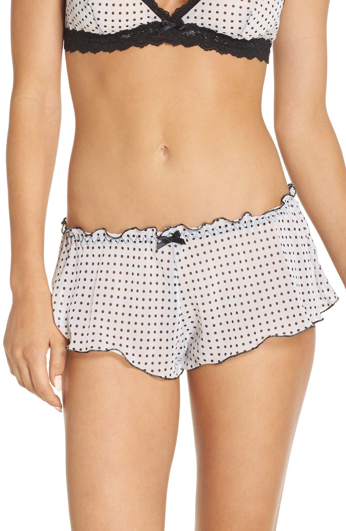 Spot On Chiffon Tap Shorts,                         Main,                         color, White/Black
