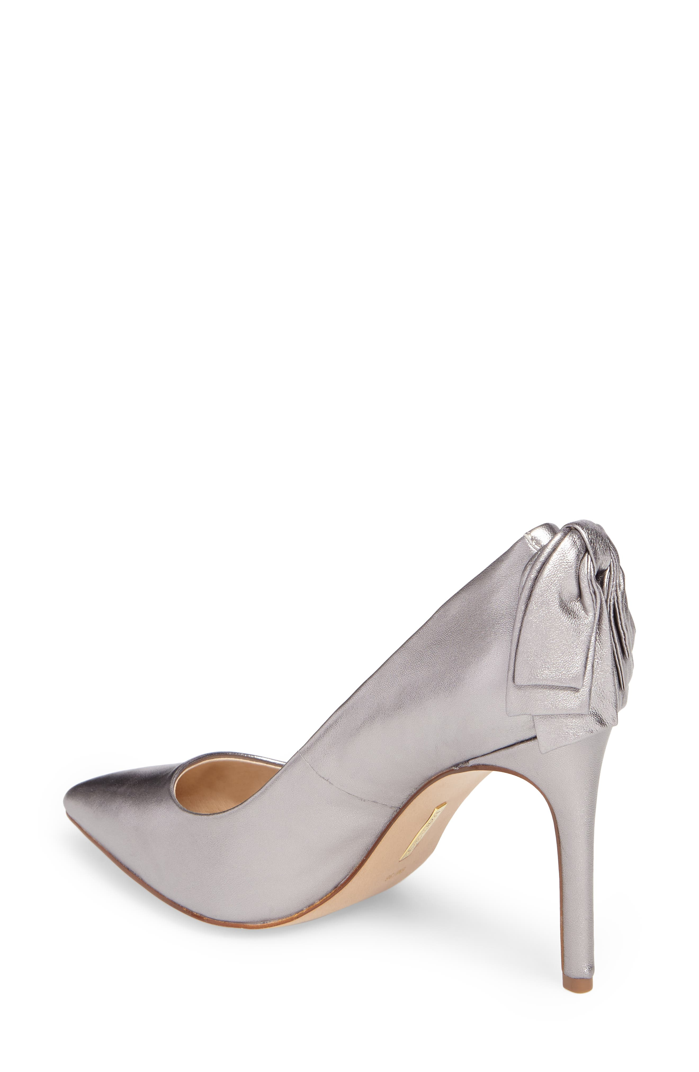 Josely Pointy Toe Pump,                             Alternate thumbnail 2, color,                             Chrome Leather