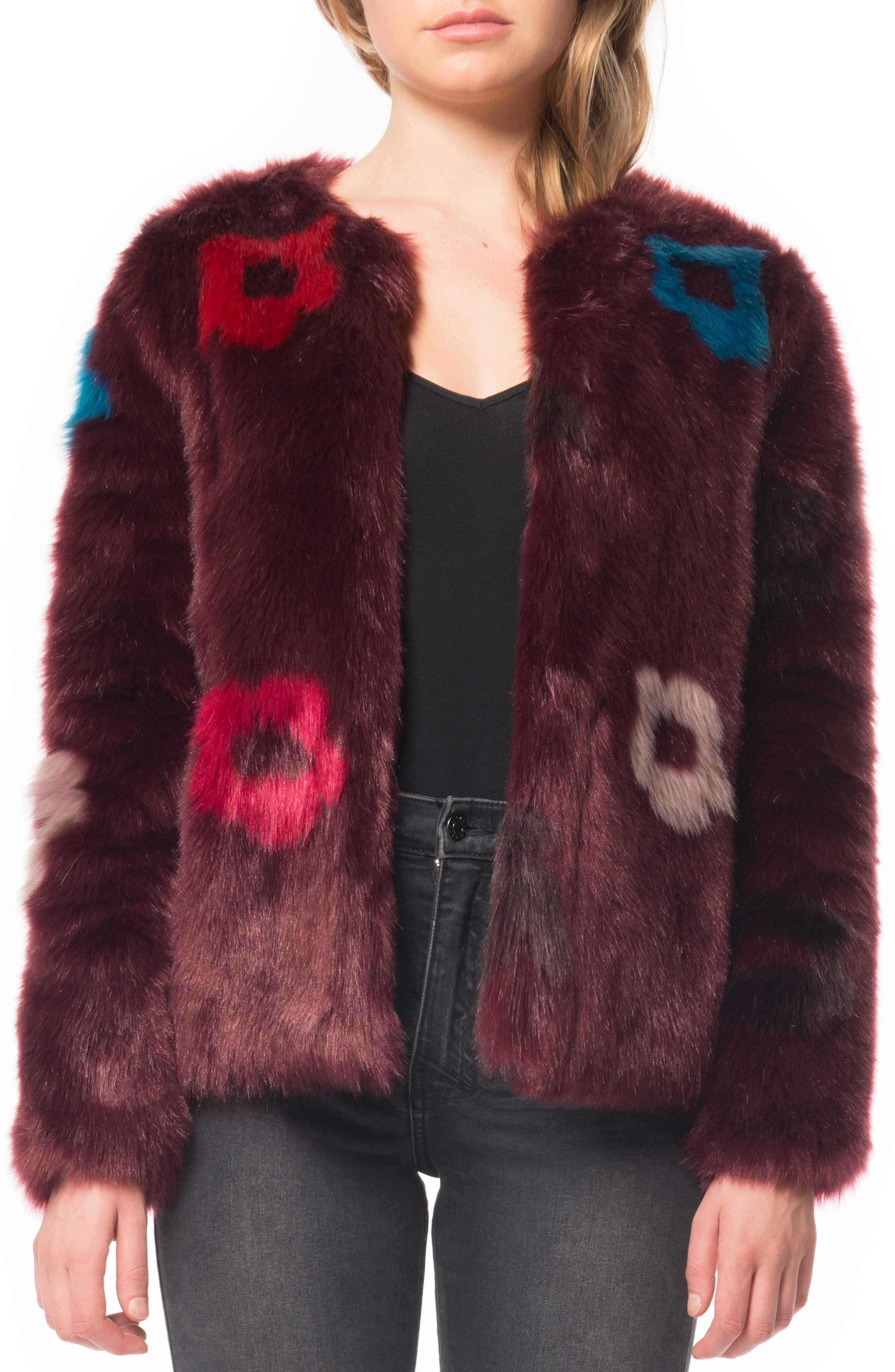 Flower Faux Fur Jacket,                             Main thumbnail 1, color,                             Plum