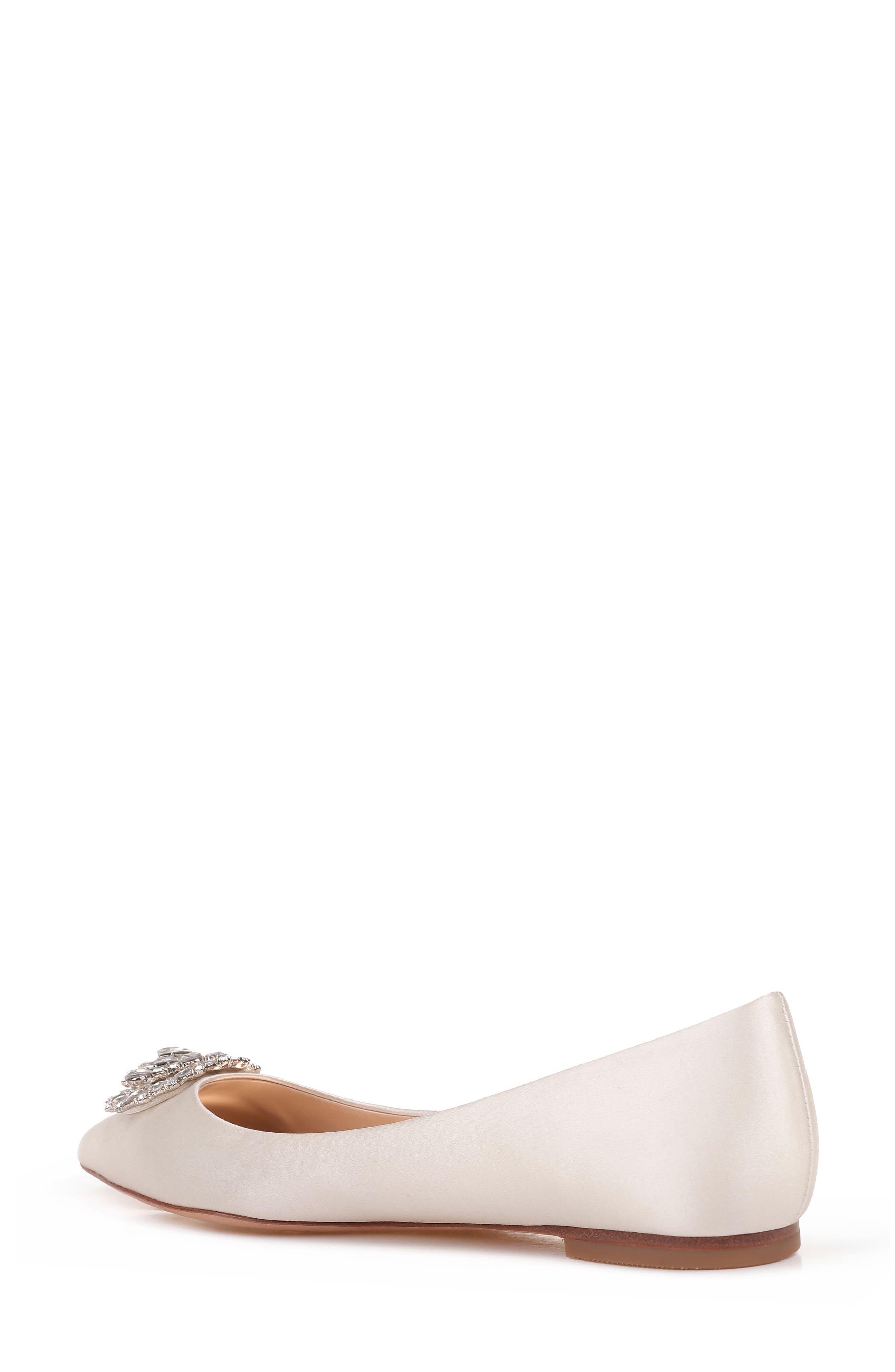 'Davis' Crystal Embellished Pointy Toe Flat,                             Alternate thumbnail 2, color,                             Ivory Satin