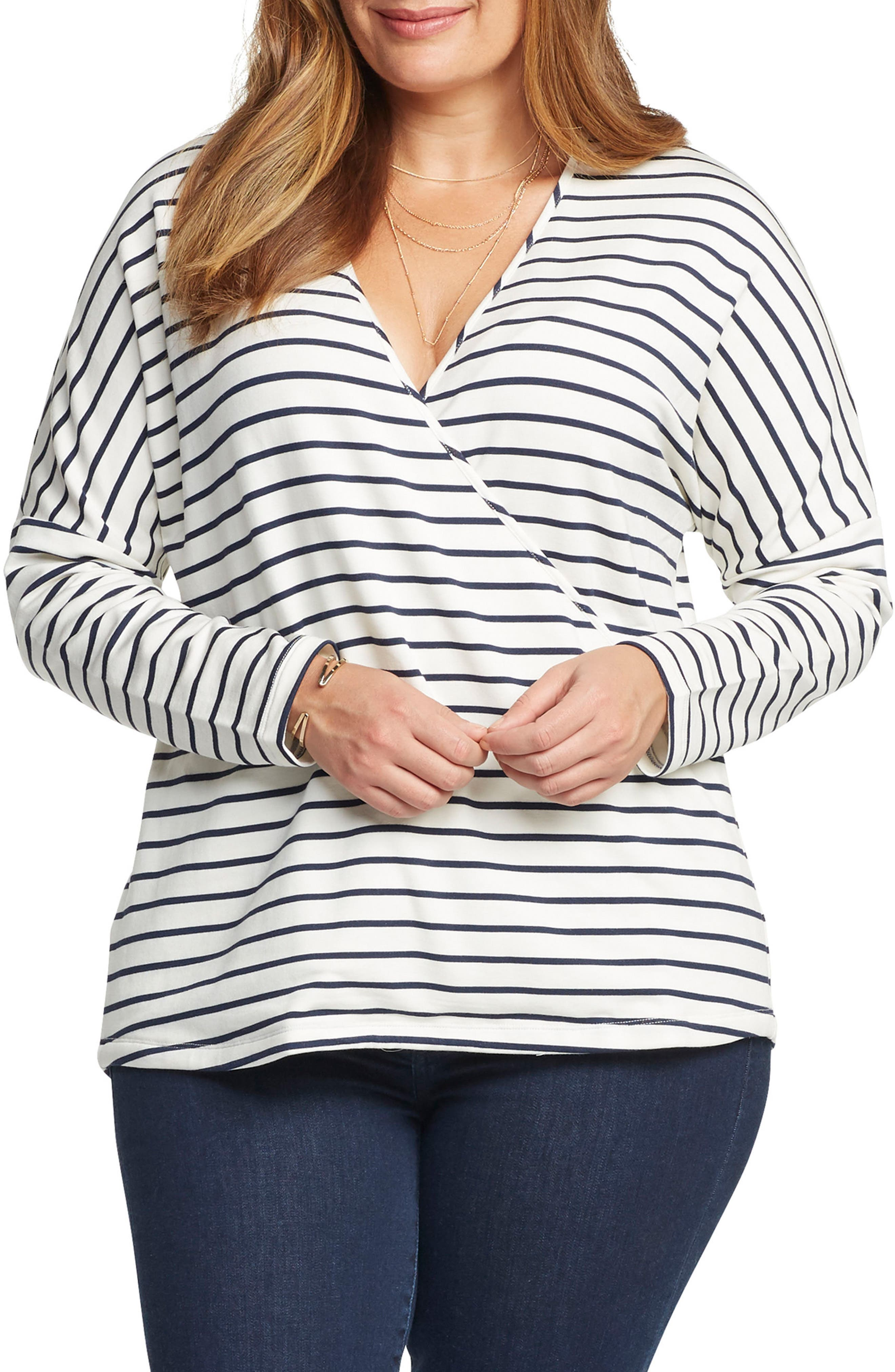 'Julian' Stripe French Terry Surplice Top,                         Main,                         color, White/ Navy