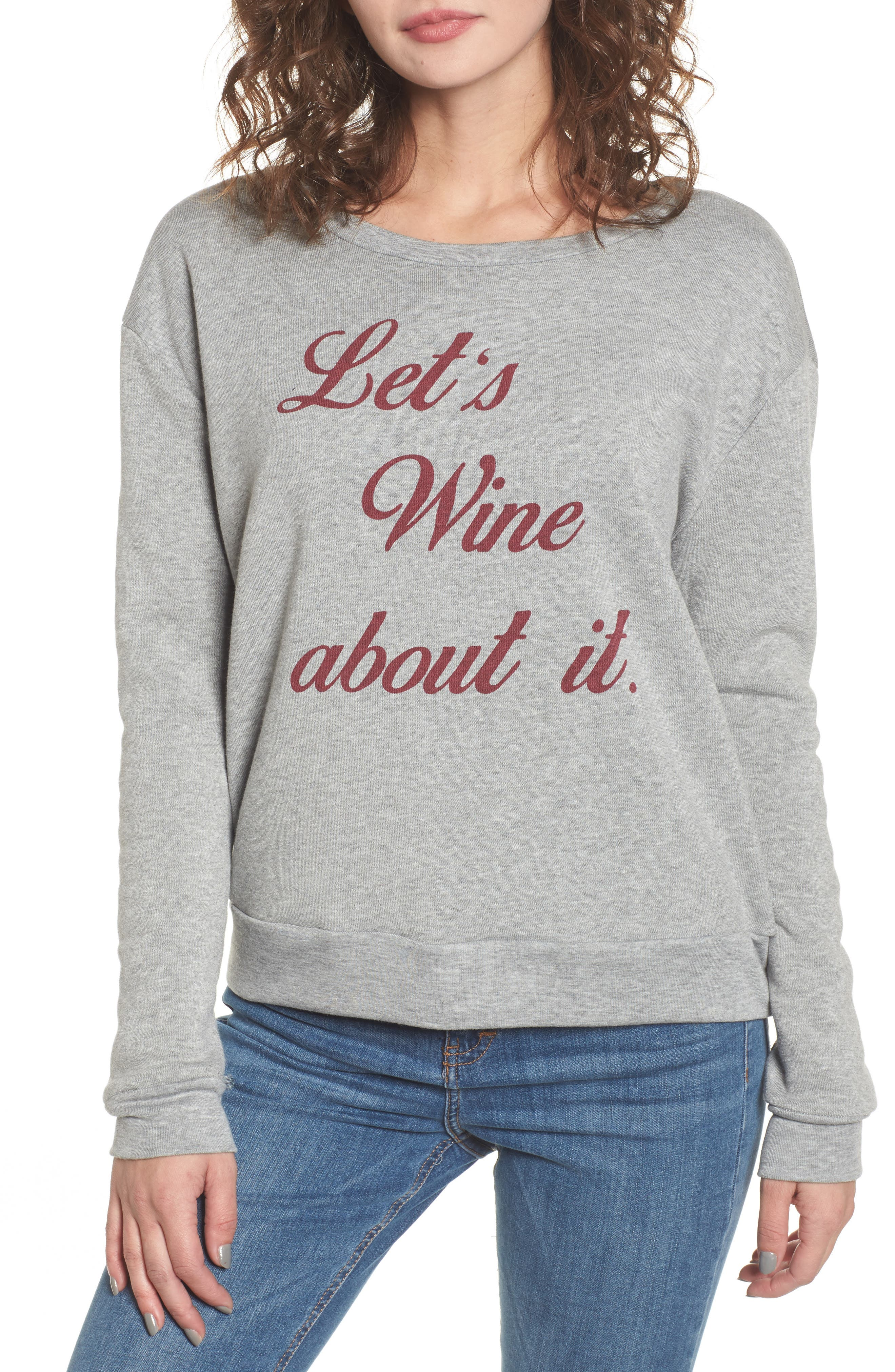 Let's Wine about It Sweatshirt,                             Main thumbnail 1, color,                             Heather Grey
