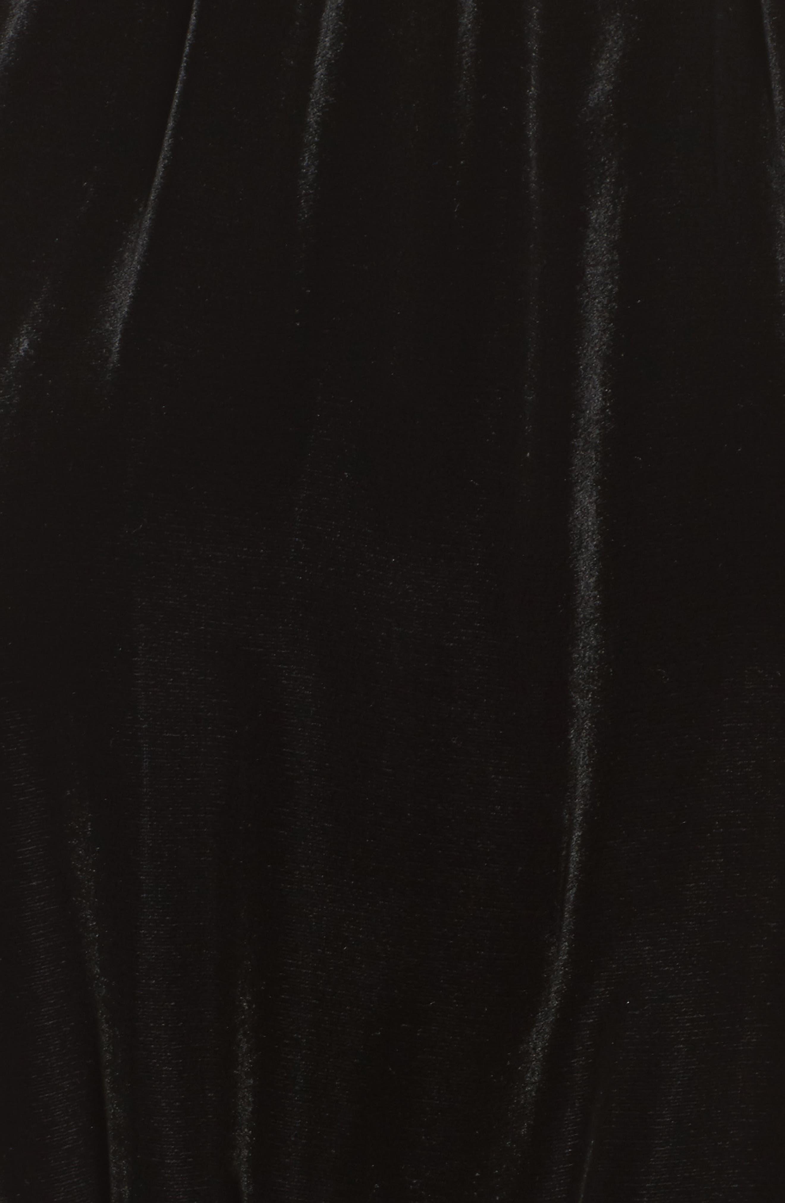 Difosia Velvet Midi Dress,                             Alternate thumbnail 5, color,                             Black