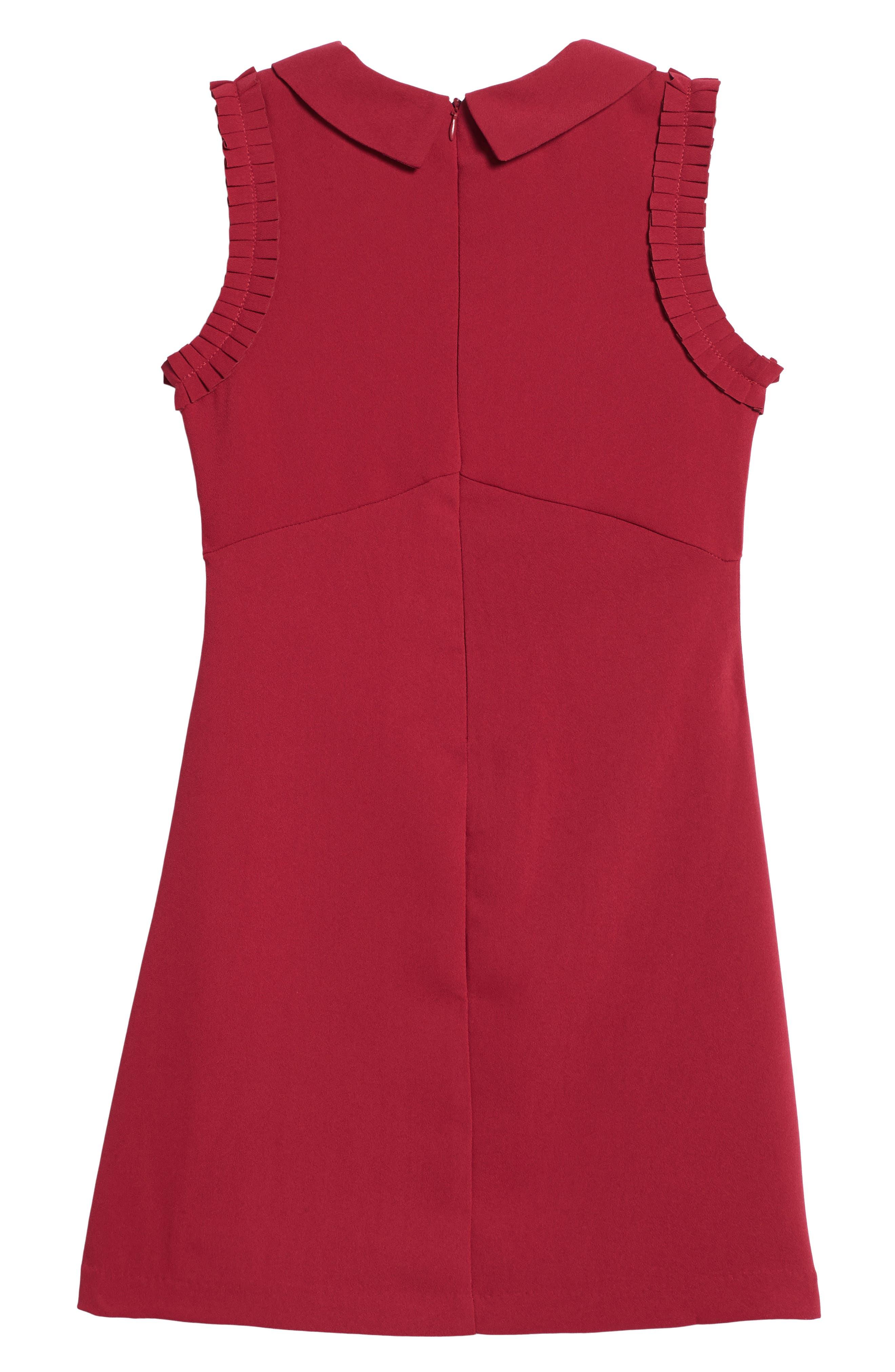 Point Collar Dress,                             Alternate thumbnail 2, color,                             Burgundy