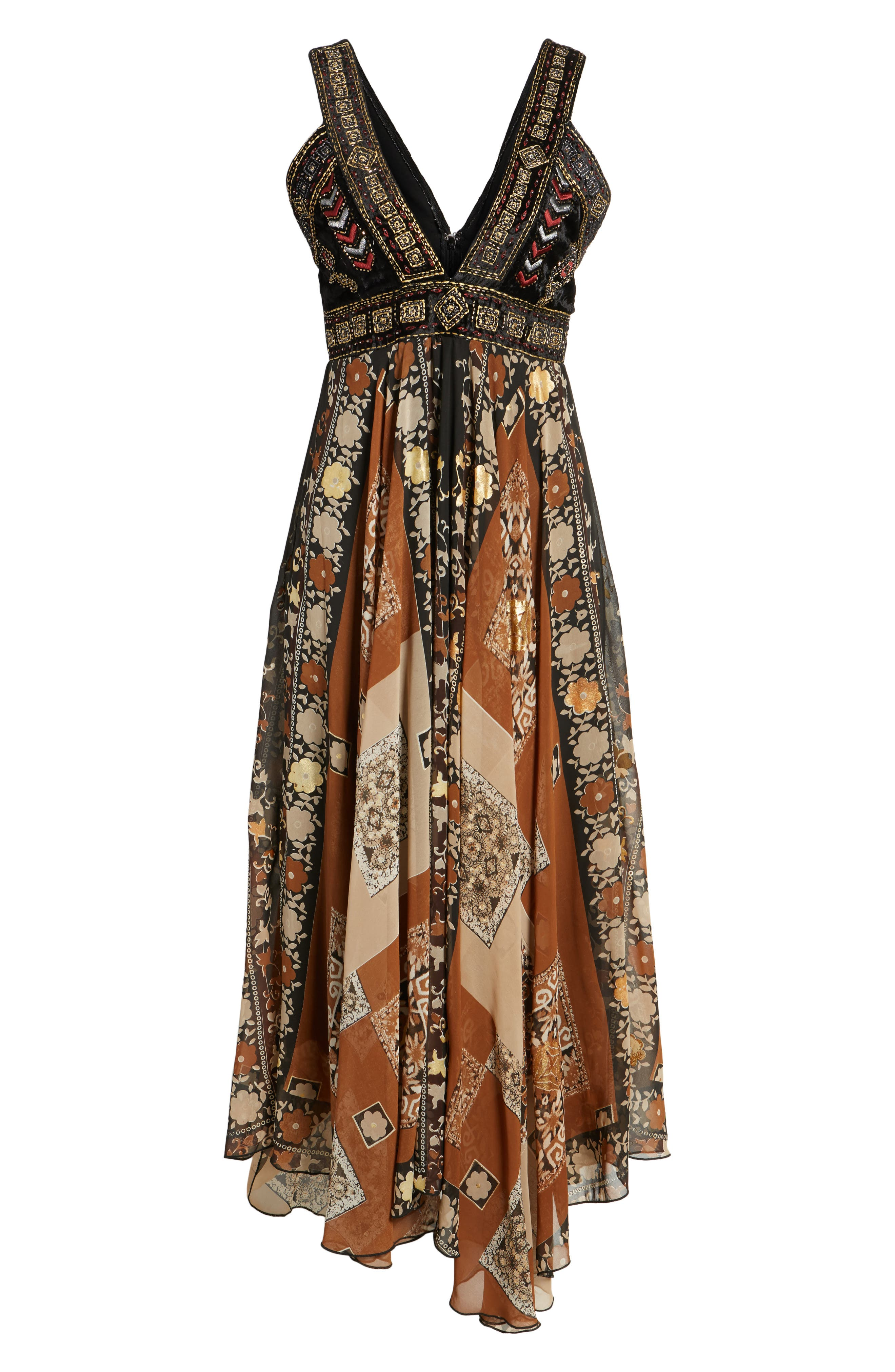 Sonder Embroidered Maxi Dress,                             Alternate thumbnail 7, color,                             Brown