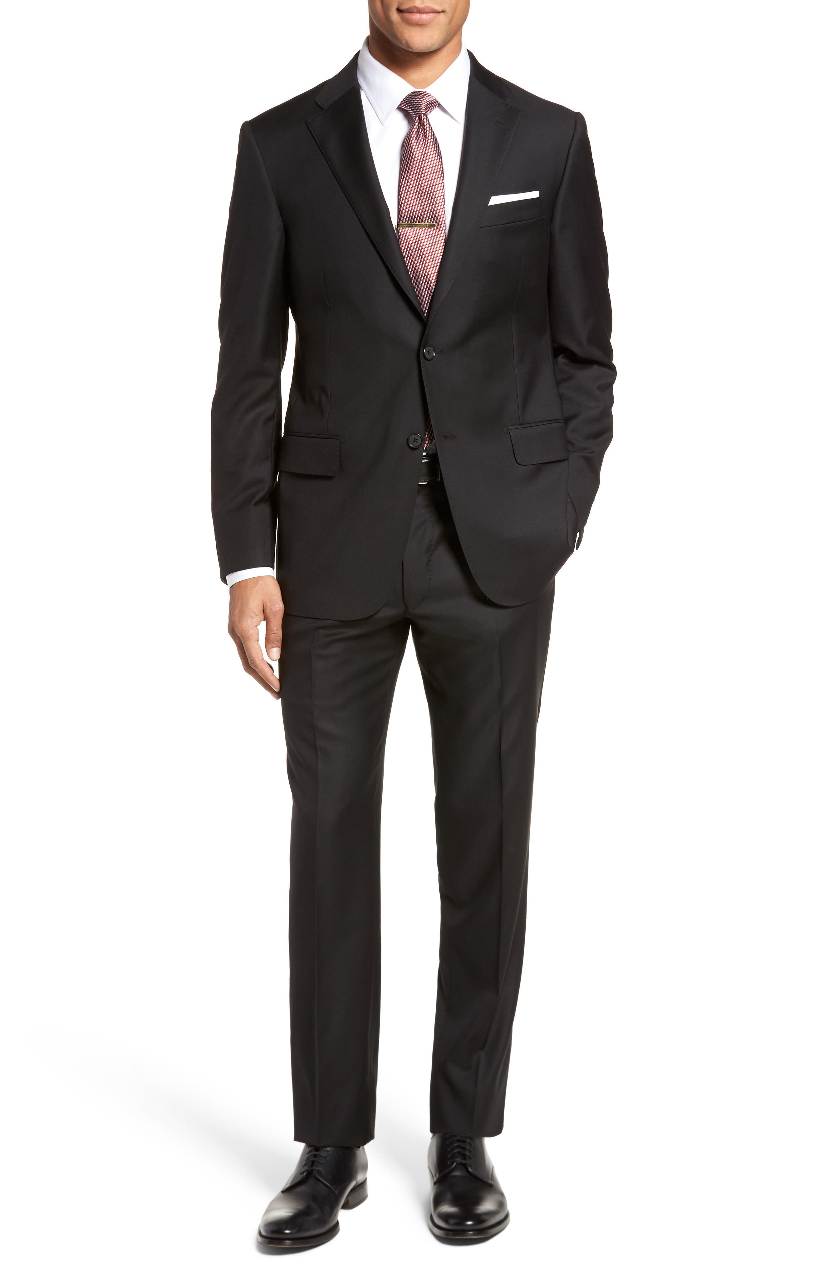 Modern H Fit Solid Loro Piana Wool Suit,                             Main thumbnail 1, color,                             Black Solid