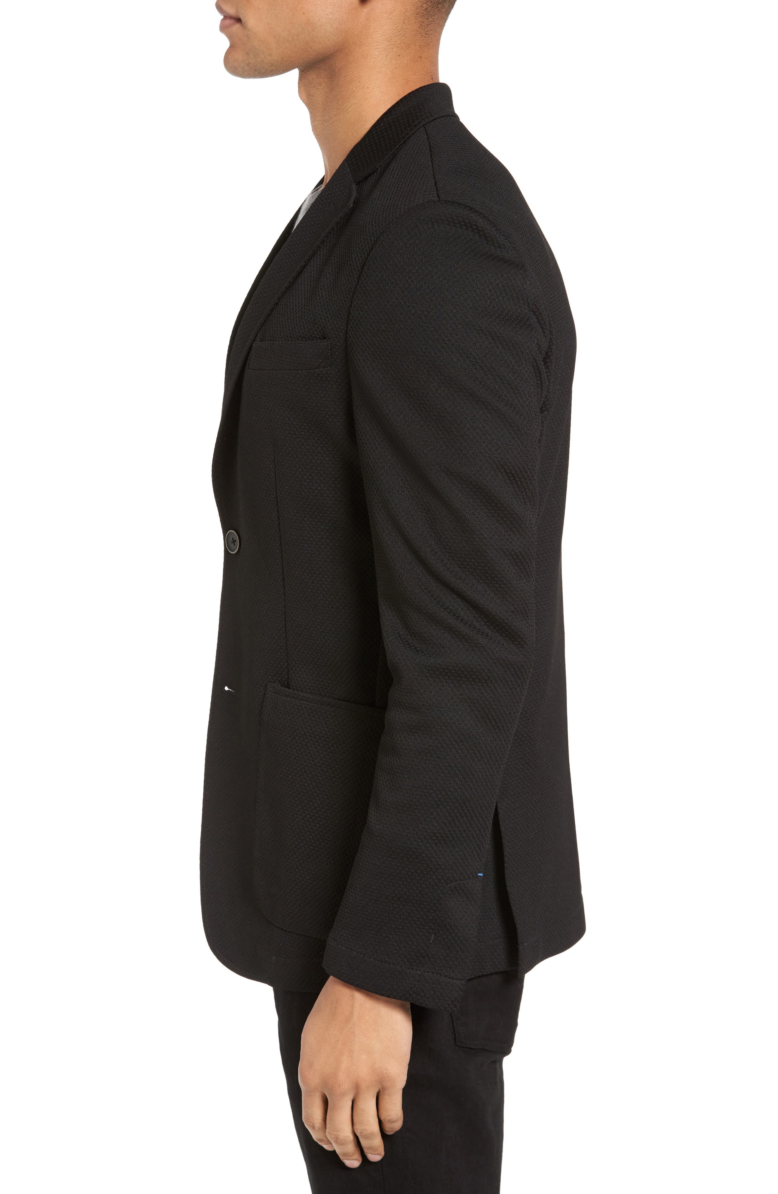 Slim Fit Stretch Knit Blazer,                             Alternate thumbnail 3, color,                             Black
