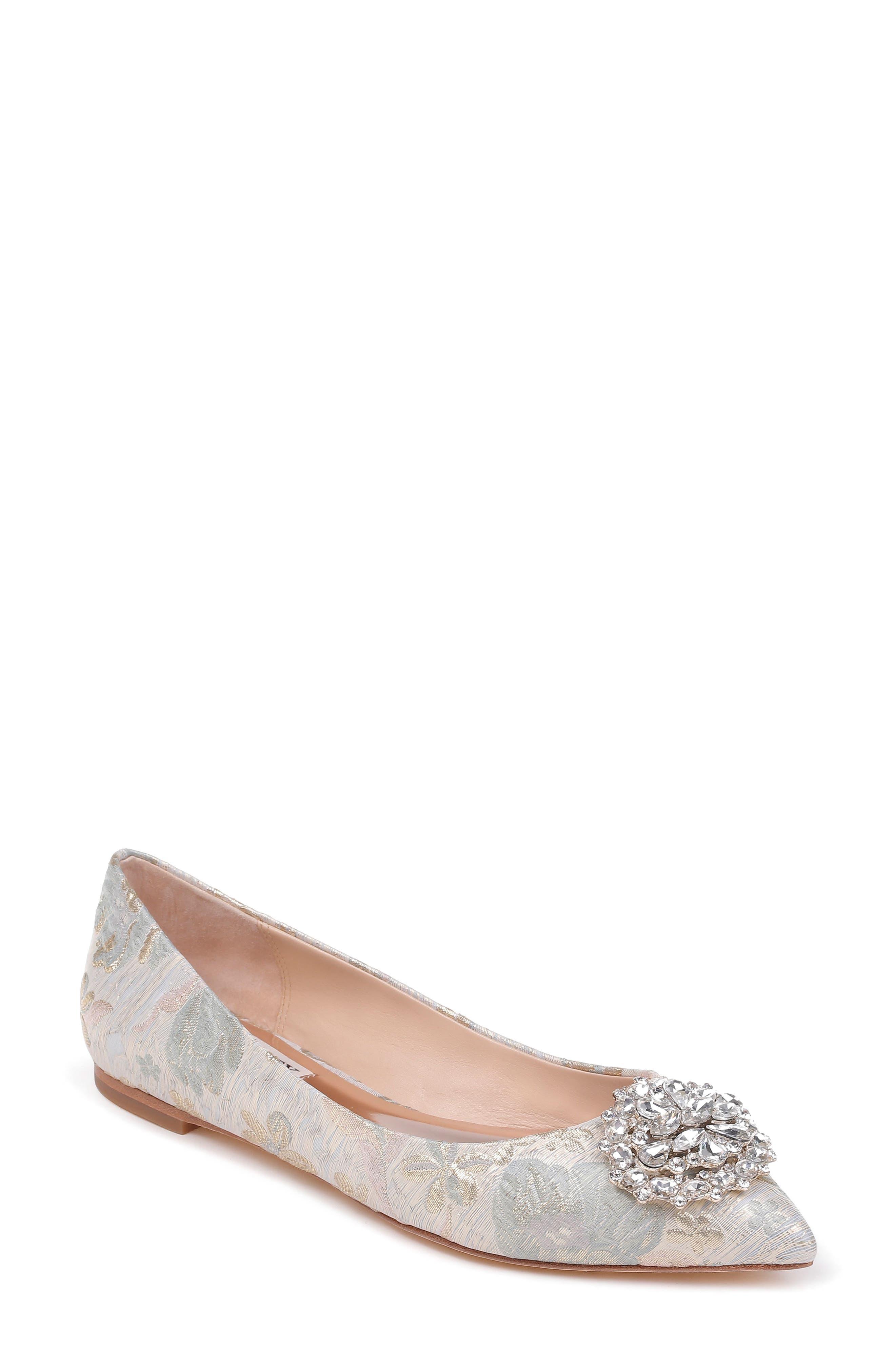 'Davis' Crystal Embellished Pointy Toe Flat,                         Main,                         color, Platino Brocade Fabric