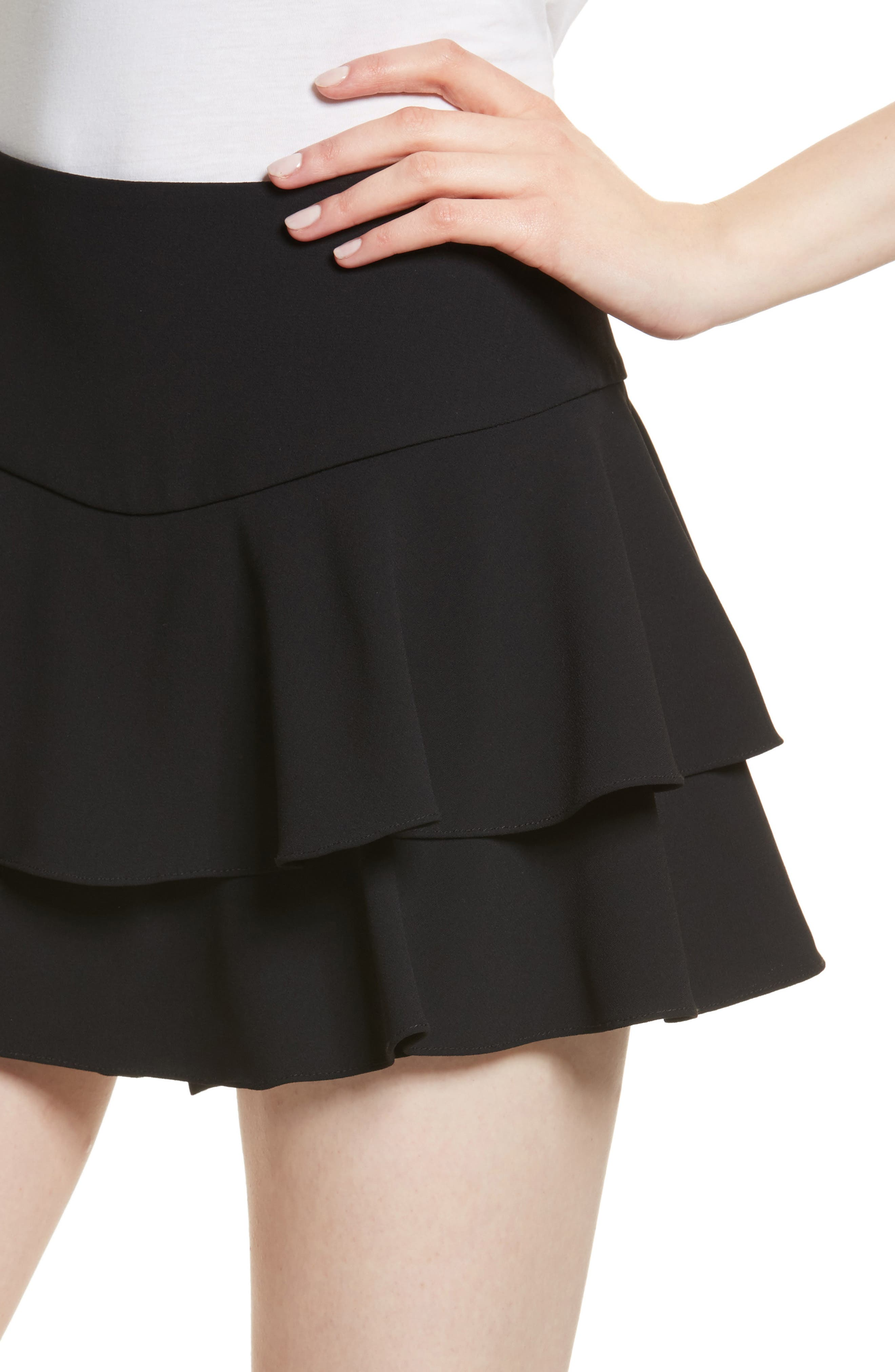 Paloma Ruffle Skort,                             Alternate thumbnail 4, color,                             Black