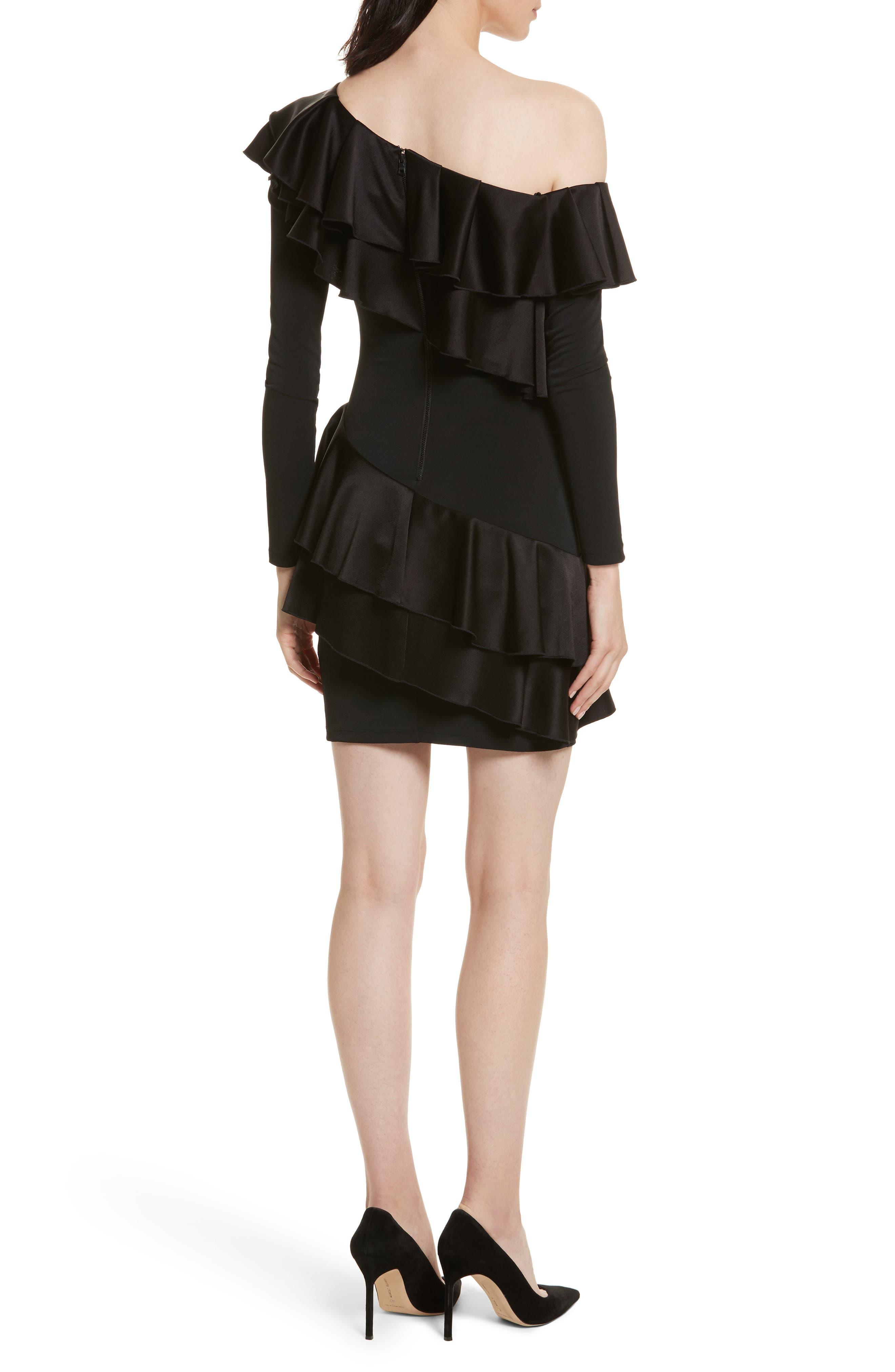 Izzy One-Shoulder Ruffle Dress,                             Alternate thumbnail 2, color,                             Black