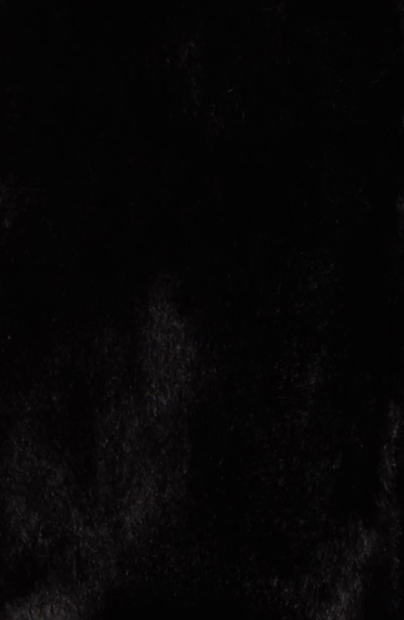 Faux Fur Varsity Jacket,                             Alternate thumbnail 2, color,                             Black
