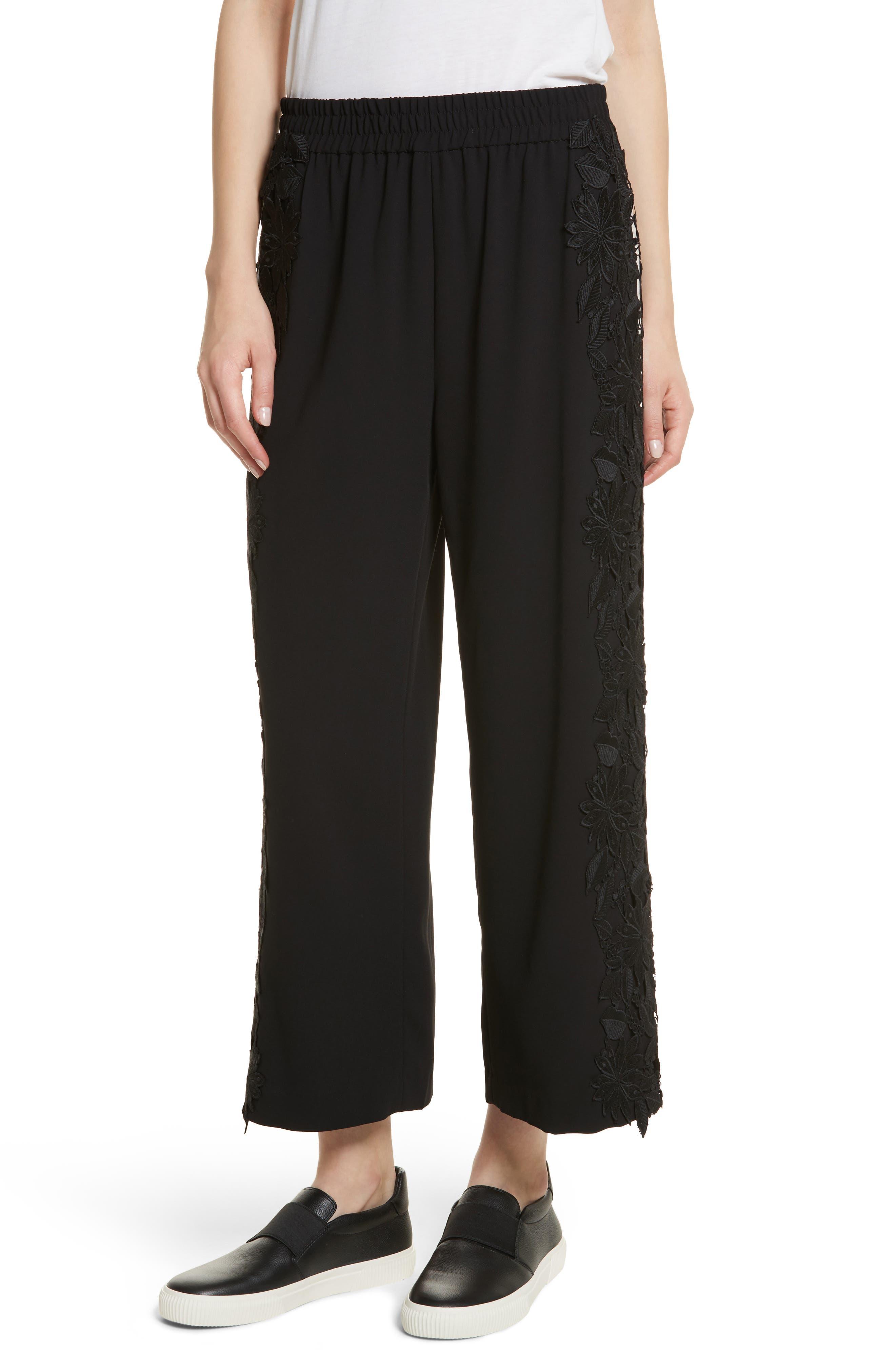 Main Image - Alice + Olivia Benny Side Lace Crop Pants
