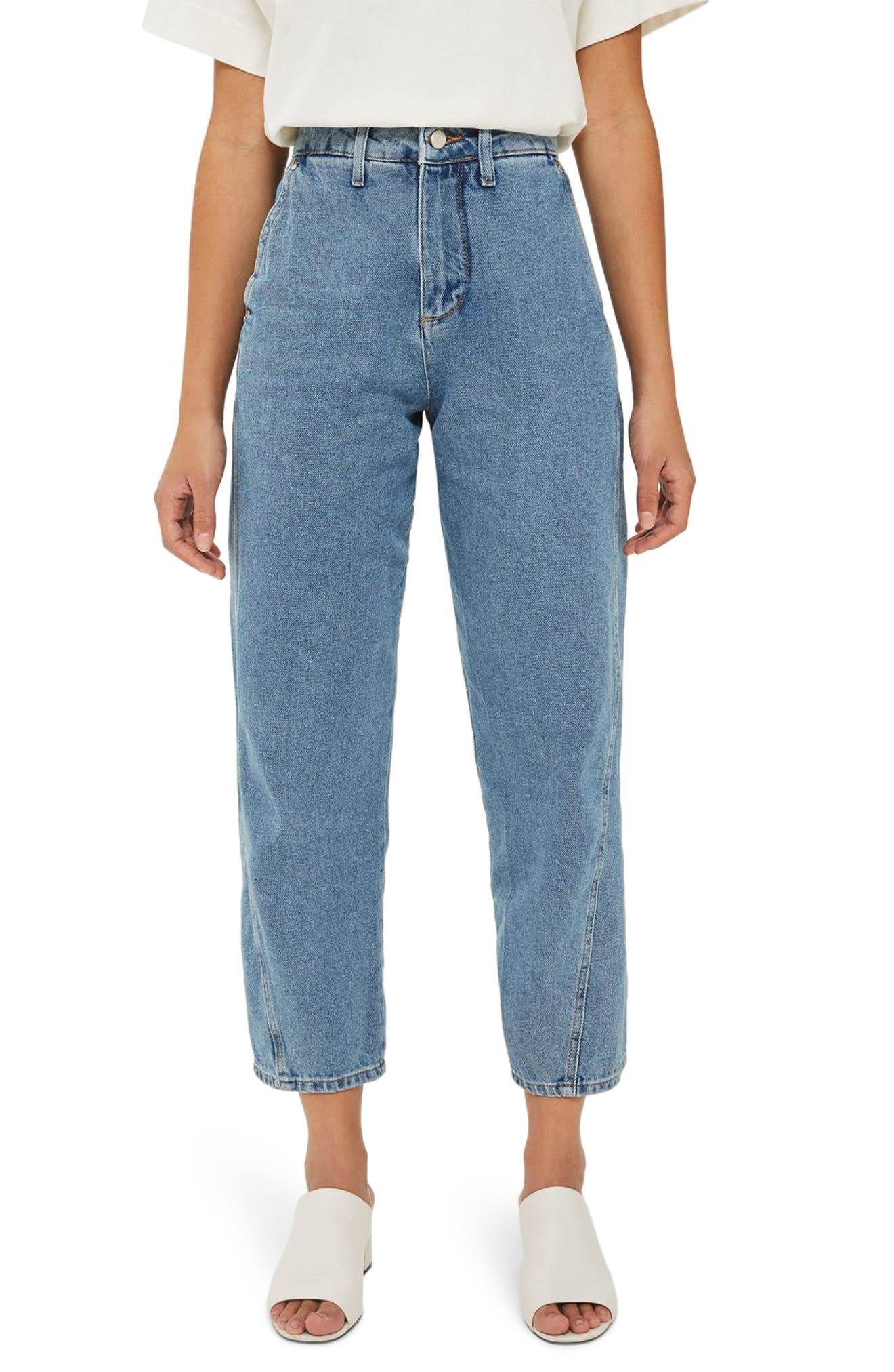 Alternate Image 1 Selected - Topshop Boutique Displaced Seam Boyfriend Jeans