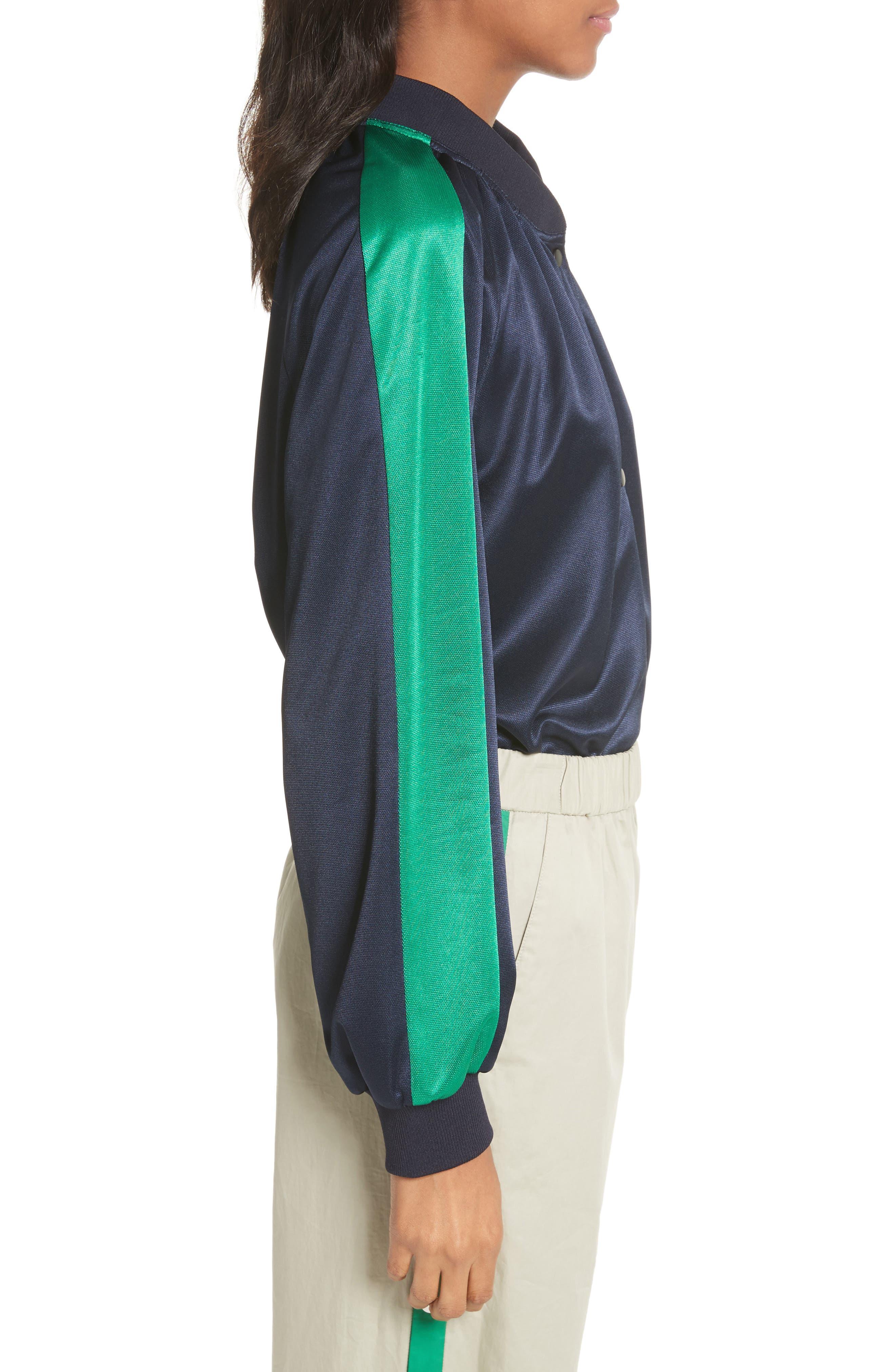 Pullover Track Jacket,                             Alternate thumbnail 3, color,                             Navy/ Green Multi