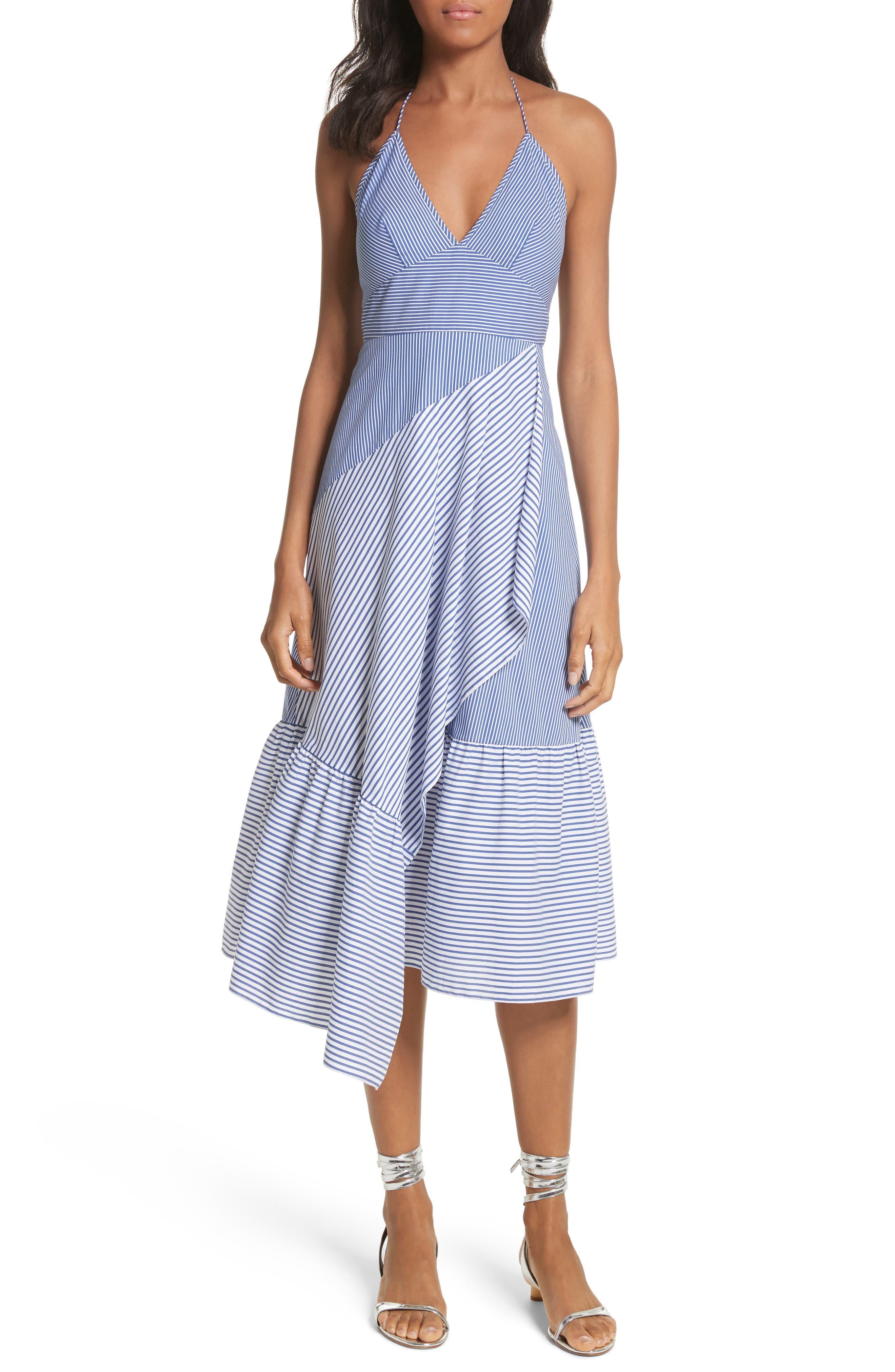 Colorblock Collage Stripe Halter Dress,                         Main,                         color, Blue Multi