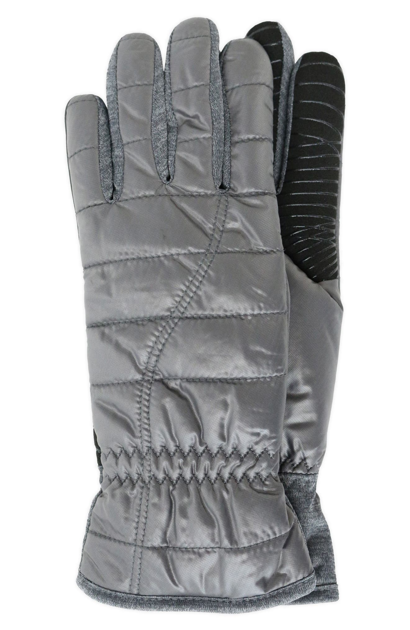 Quilted Touchscreen Compatible Gloves,                             Main thumbnail 1, color,                             Dark Grey