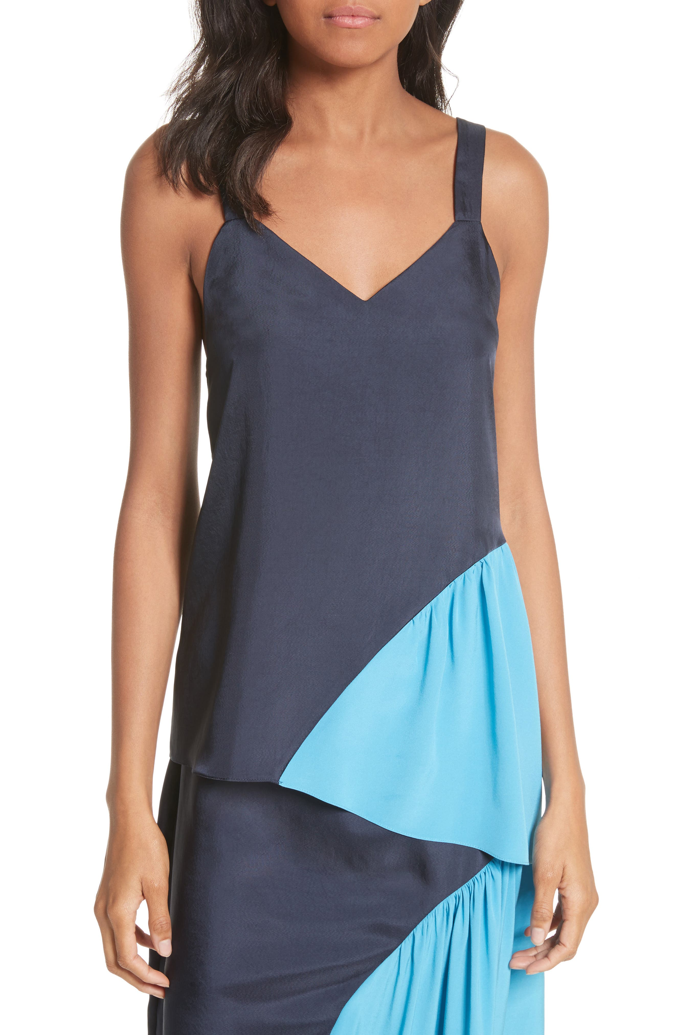 Shirred Colorblock Camisole,                             Main thumbnail 1, color,                             Navy/ Blue Multi