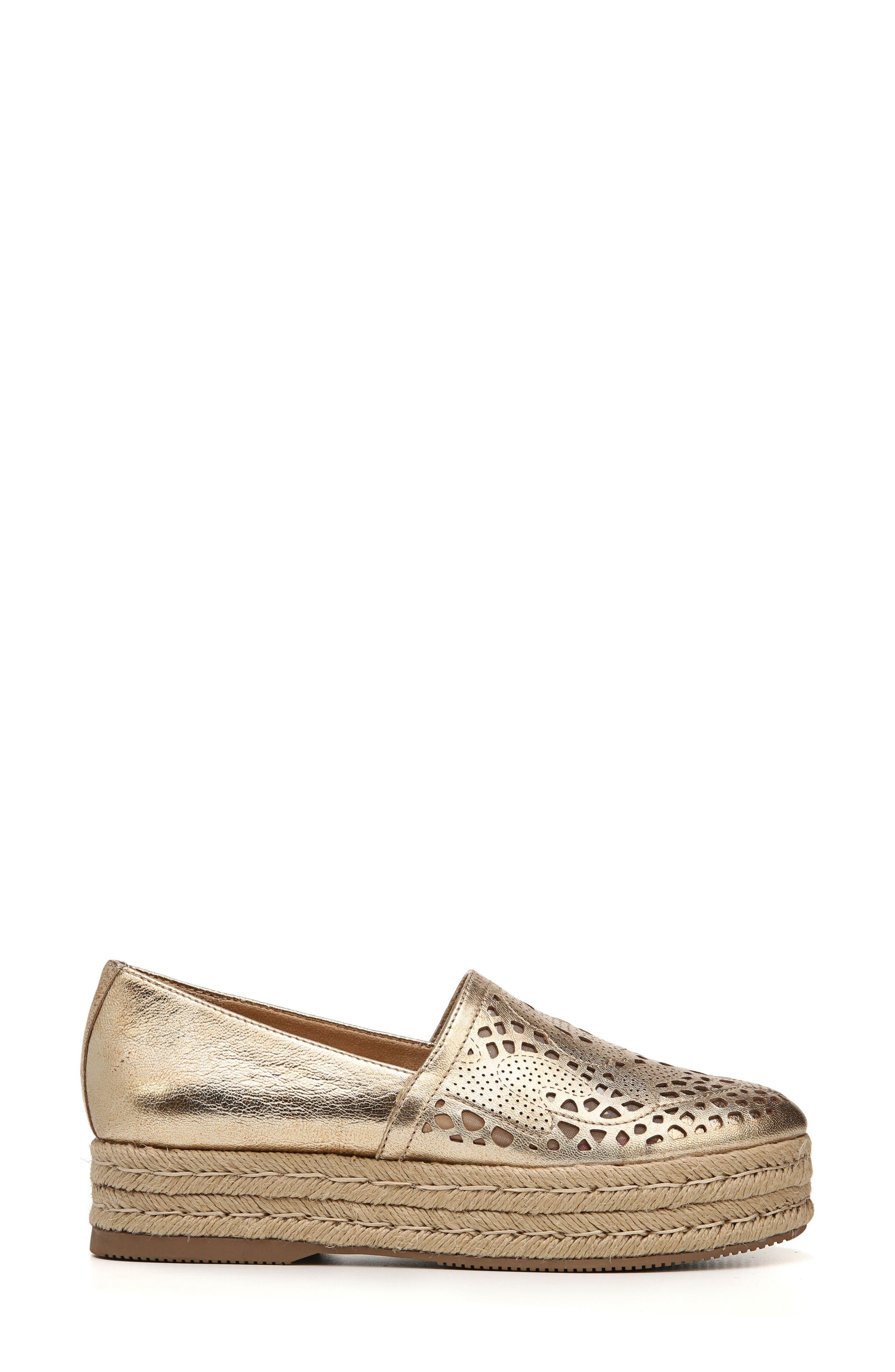 Thea Perforated Platform Espadrille,                             Alternate thumbnail 3, color,                             Platino Leather