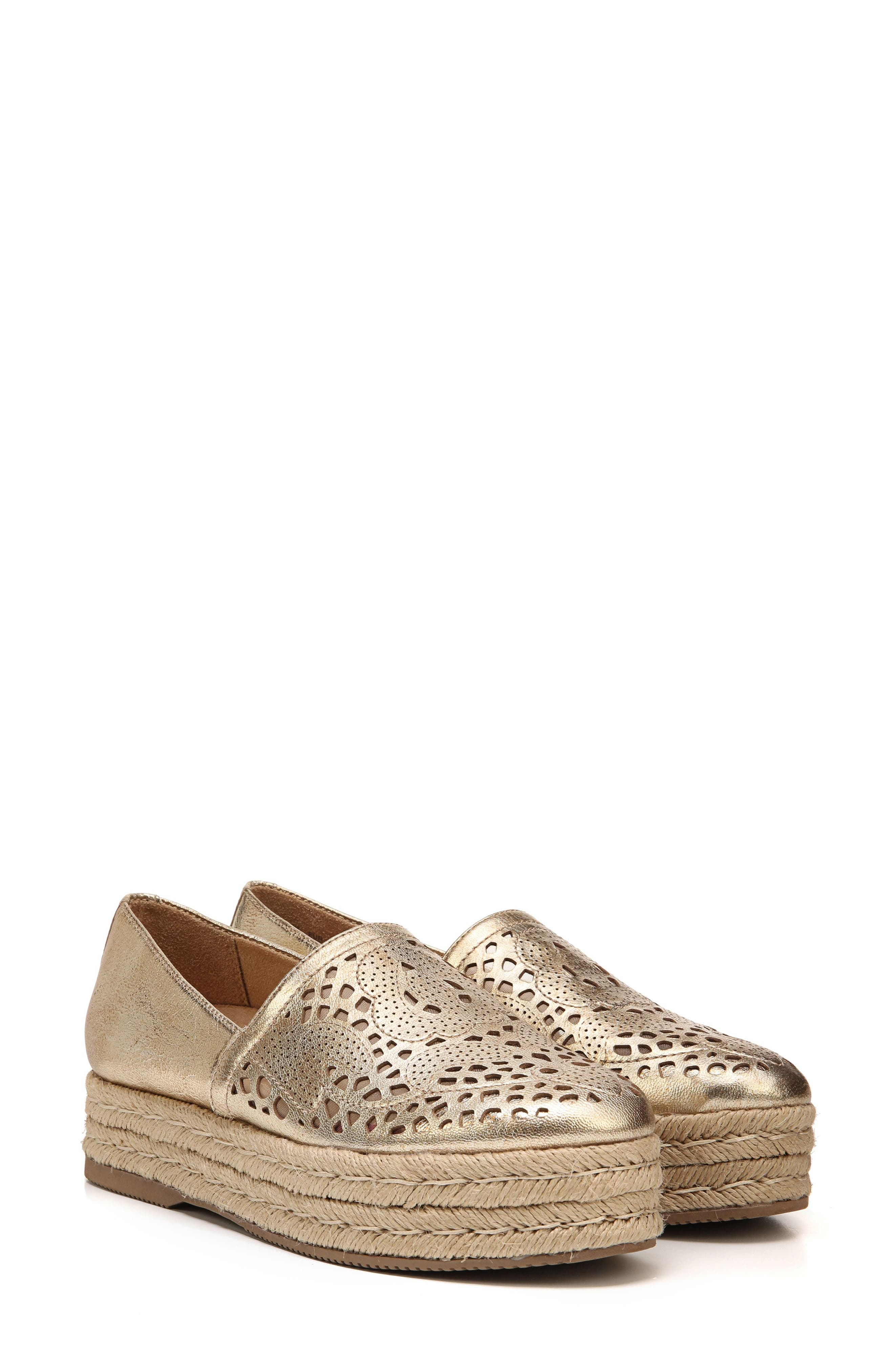 Thea Perforated Platform Espadrille,                             Alternate thumbnail 9, color,                             Platino Leather