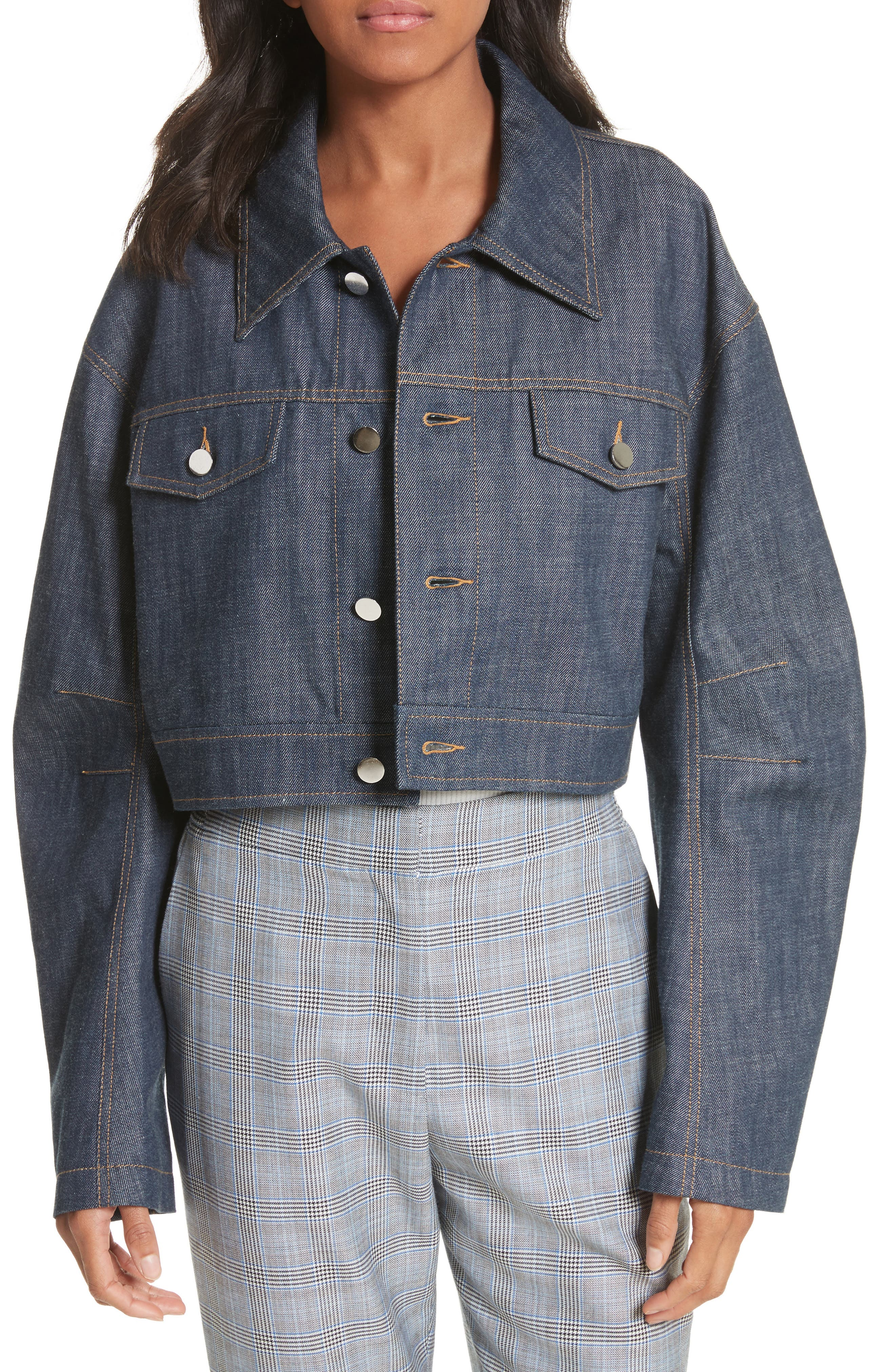 Tibi Crop Raw Denim Jacket