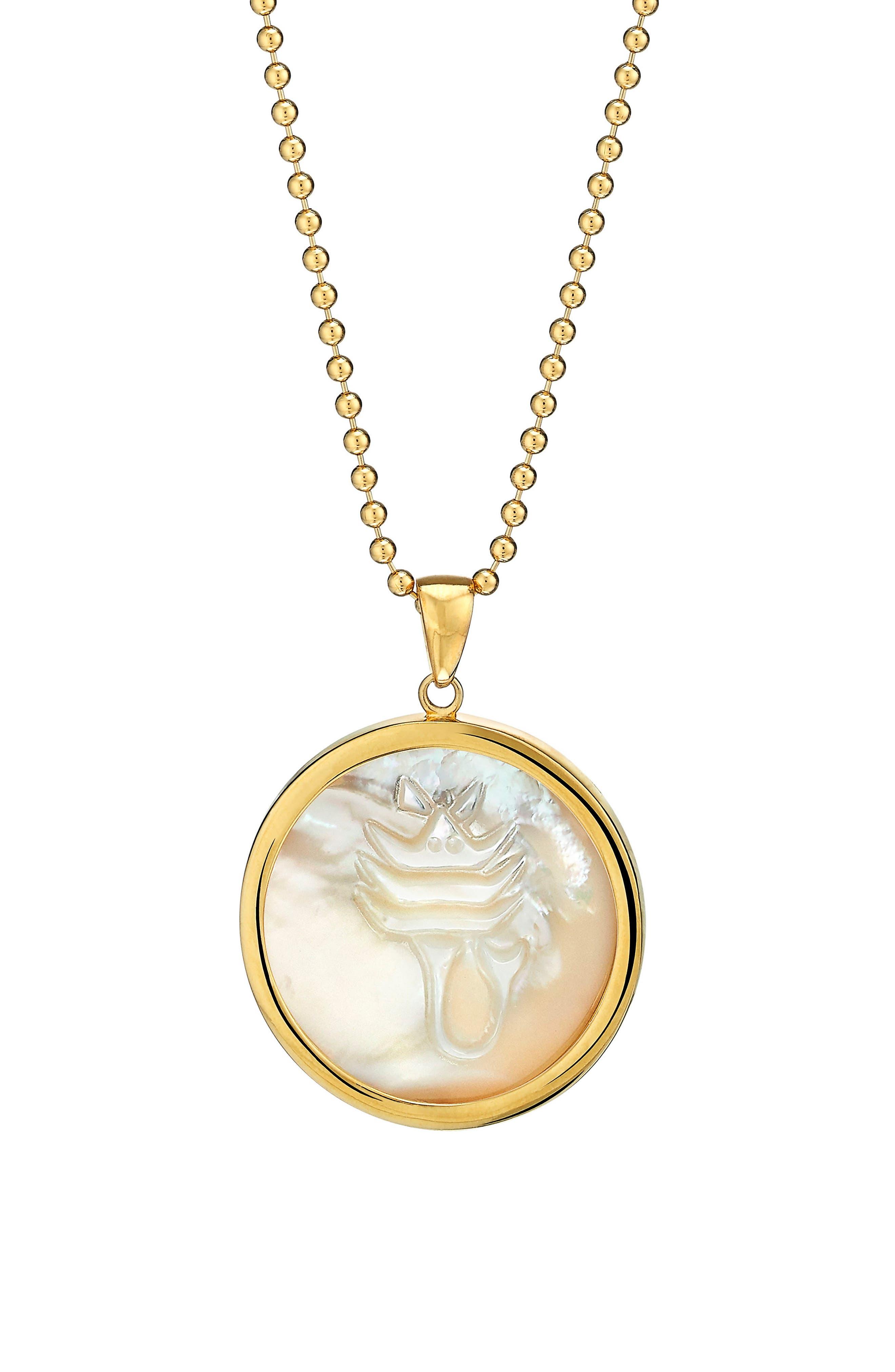 Zodiac Mother-of-Pearl Pendant Necklace,                         Main,                         color, Scorpio
